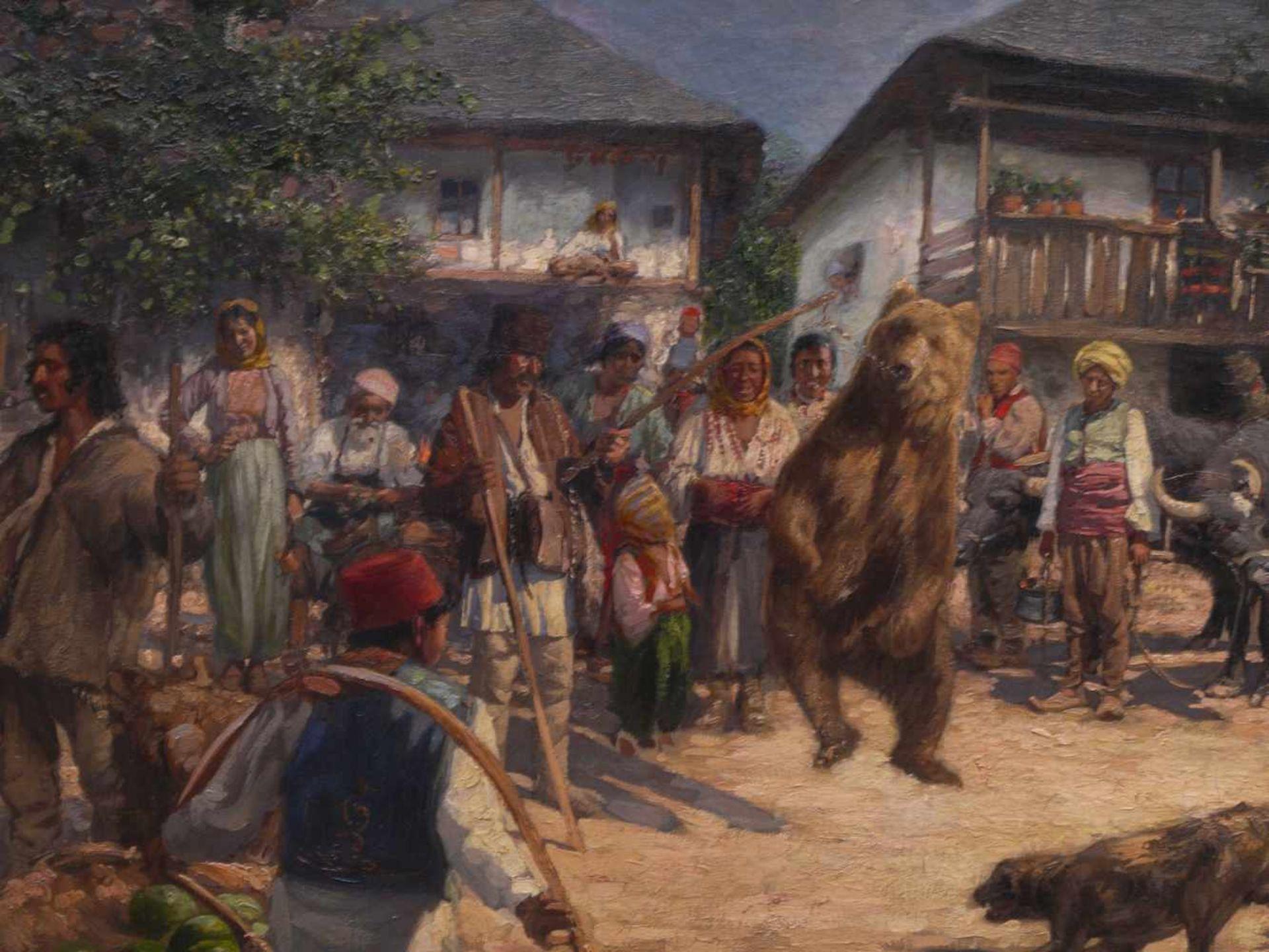 Klingemann, Hugo (1869-1942) - Tanzbär in RumänienDörfliche Szenerie, die Gemeinschaft hat sich - Bild 3 aus 6