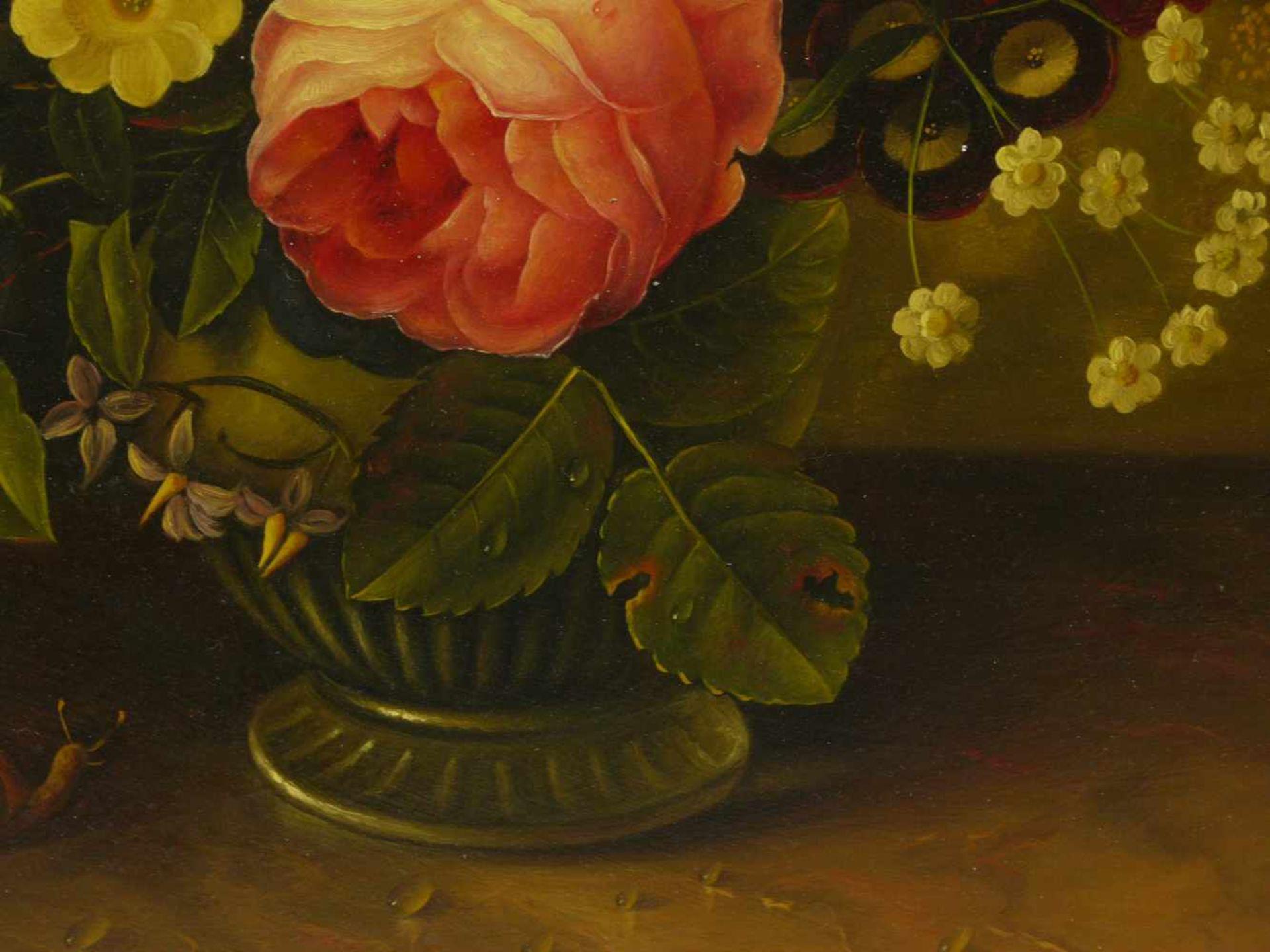 Holstayn, Josef (1930-?) - BlumenstückFeinste Malerei in typischer Manier des Künstler. Meisterhafte - Bild 8 aus 10