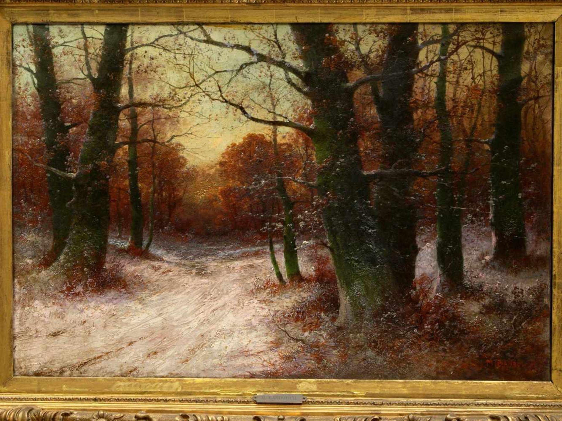 Kaufmann, Adolf (1848-1916)/ M. Bandouch - Winterliche WaldlandschaftRomantisch-idyllische Ansicht - Bild 2 aus 10
