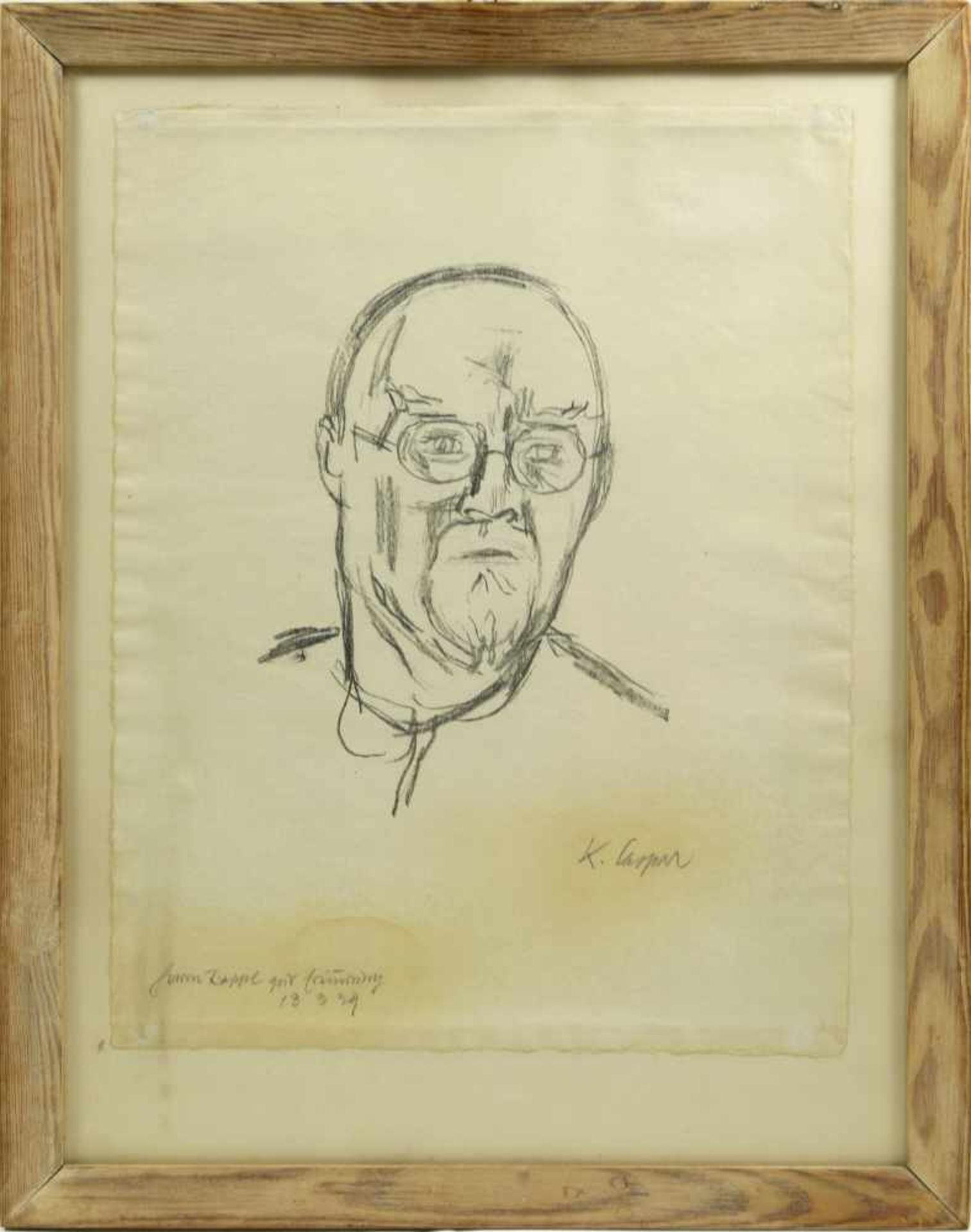 Caspar, Karl (1879-1956) - Portrait Zeichnung des Künstlers Arthur Rappl (1904-1968) 1929Im