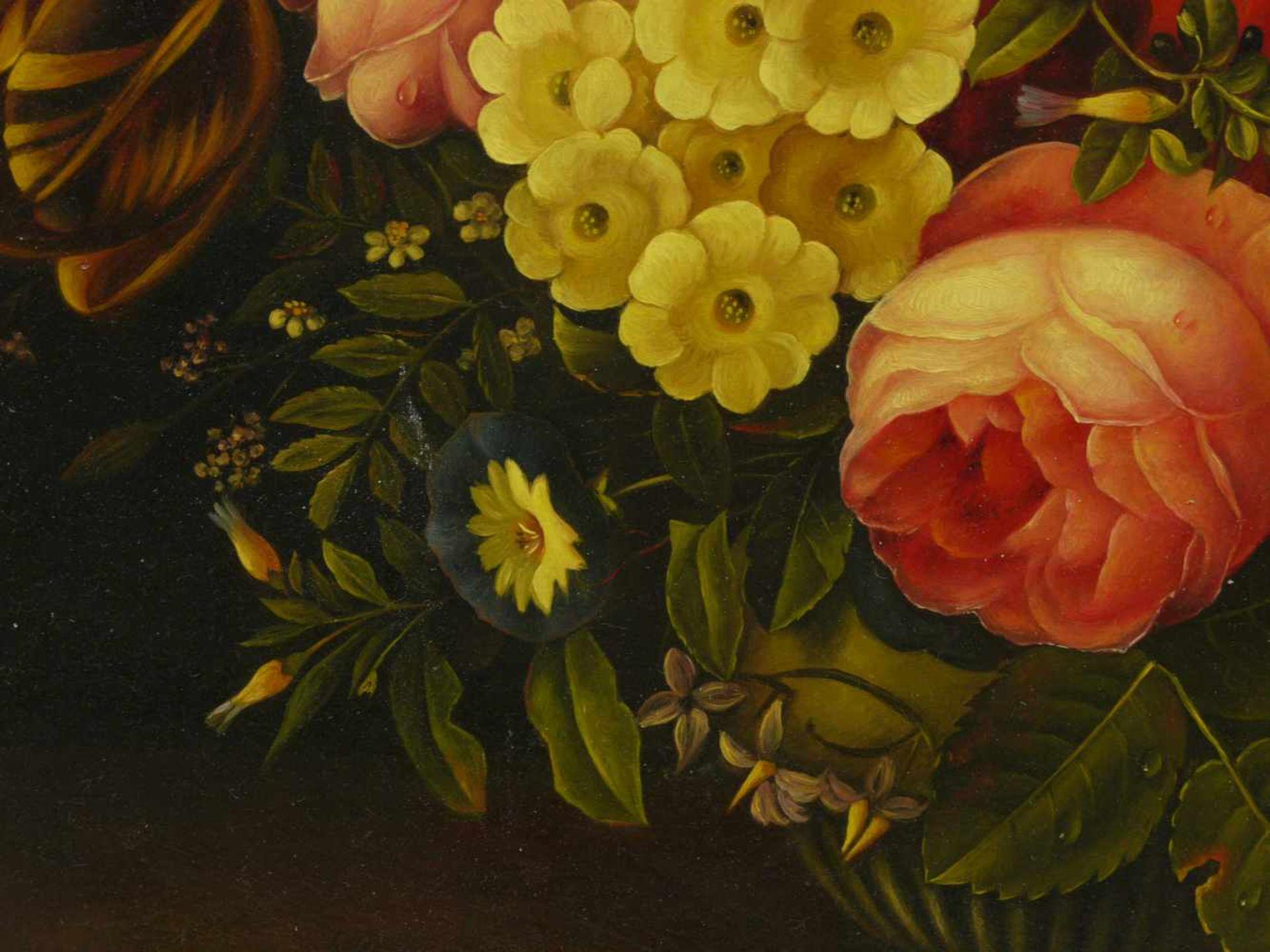 Holstayn, Josef (1930-?) - BlumenstückFeinste Malerei in typischer Manier des Künstler. Meisterhafte - Bild 9 aus 10