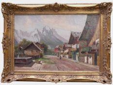 Kettemann, Erwin (1897-1971) - Frühlingsstraße München 1922Großformatiges Gemälde des Gebirgsmalers.