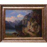 Unsigniert - Der Achensee um 1930Darstellung des Tiroler Bergsees vor beeindruckender