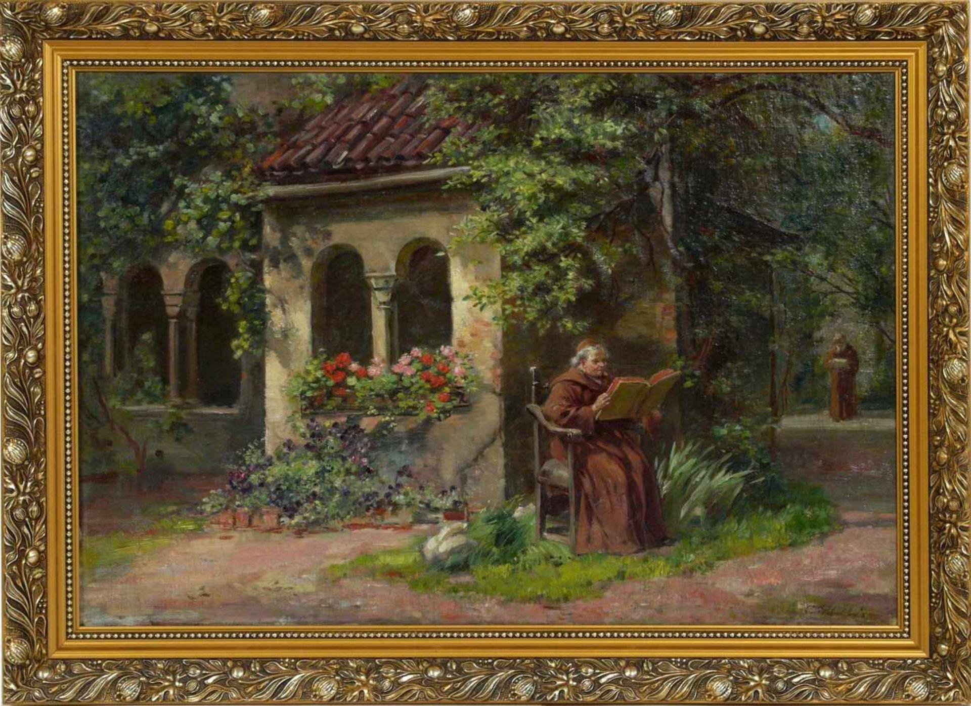 Schultheis, C. (20.Jhd.) - Ruhe im KlostergartenGefällige Darstellung mit der Ansicht eines