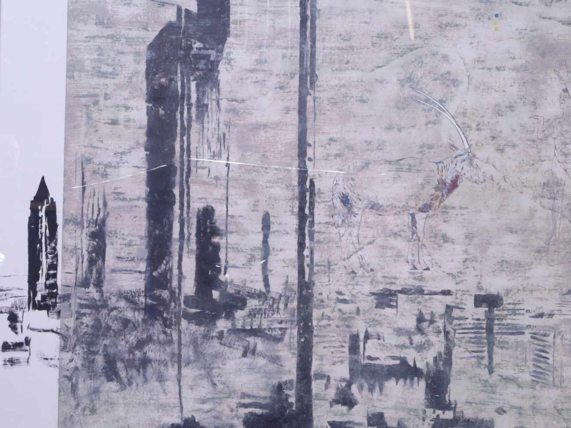 """Dauphin, Peter genannt Muth (Nürnberg 1957) - Großformatiges Gemälde """"Alpstadt""""Sehr großes - Bild 6 aus 6"""