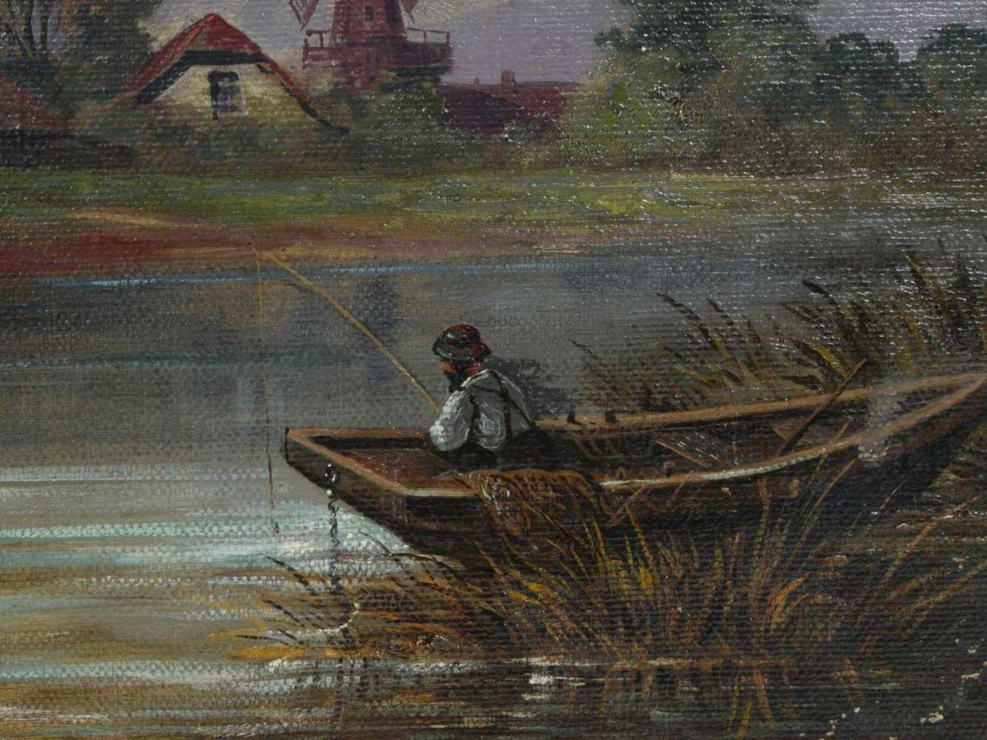 Perlberg, Friedrich (1848-1921) - Fischer in FlußlandschaftEin Fluß mit einem einsamen Fischer in - Bild 5 aus 6