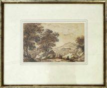 Kobell, Ferdinand (1740-1799) - Federzeichnung LandschaftWeiter Blick auf eine Hügellandschaft, in