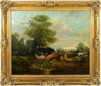 Van Os, Pieter Gerardus (1776-1839) - Romantische Landschaft mit Tieren und SchäferIdealistische
