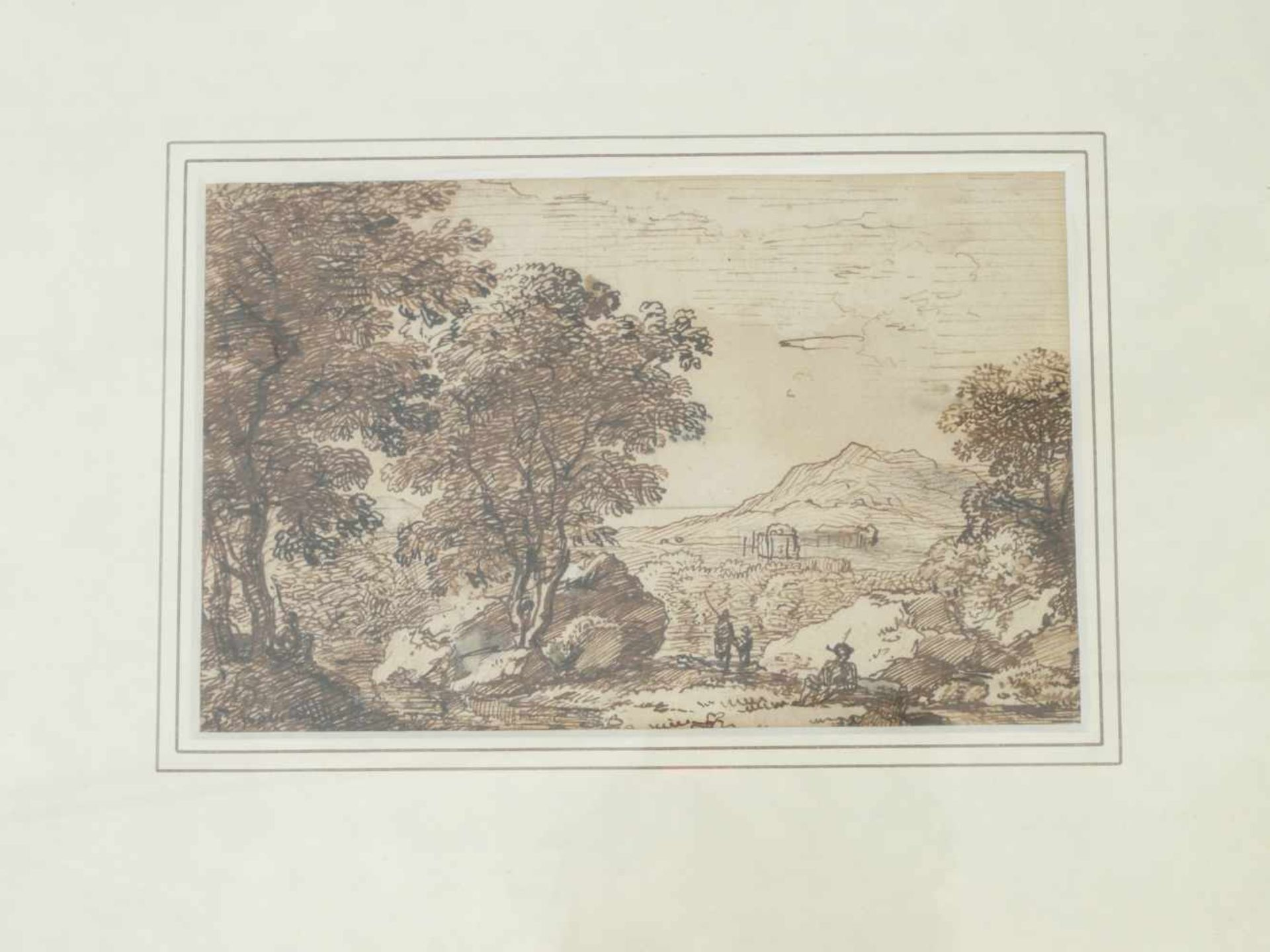 Kobell, Ferdinand (1740-1799) - Federzeichnung LandschaftWeiter Blick auf eine Hügellandschaft, in - Bild 2 aus 4