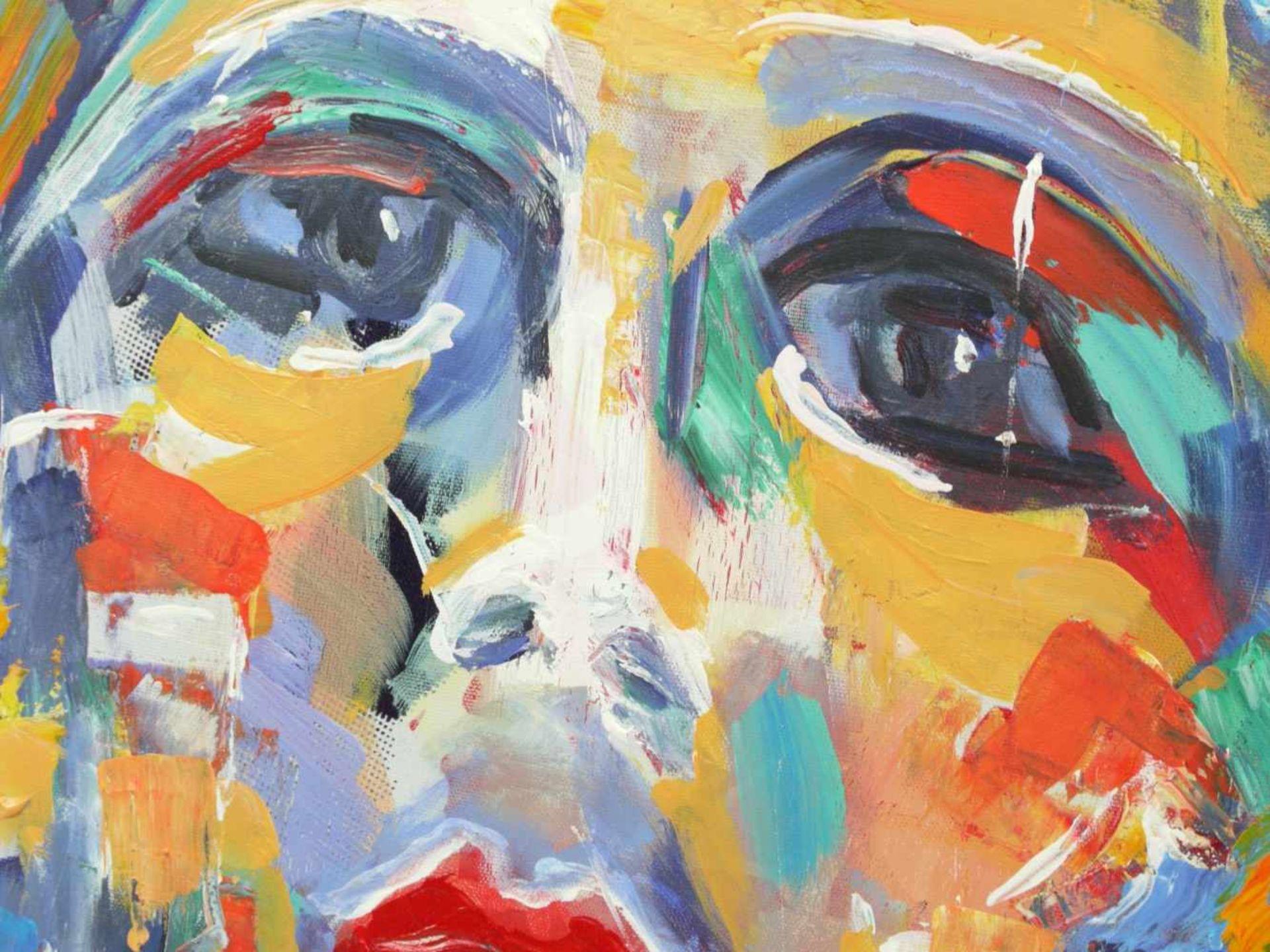 Mikel, Thomas (1948) - Expressives Portrait einer FrauAusdrucksstarkes Gemälde, das Gesicht der Frau - Bild 5 aus 6