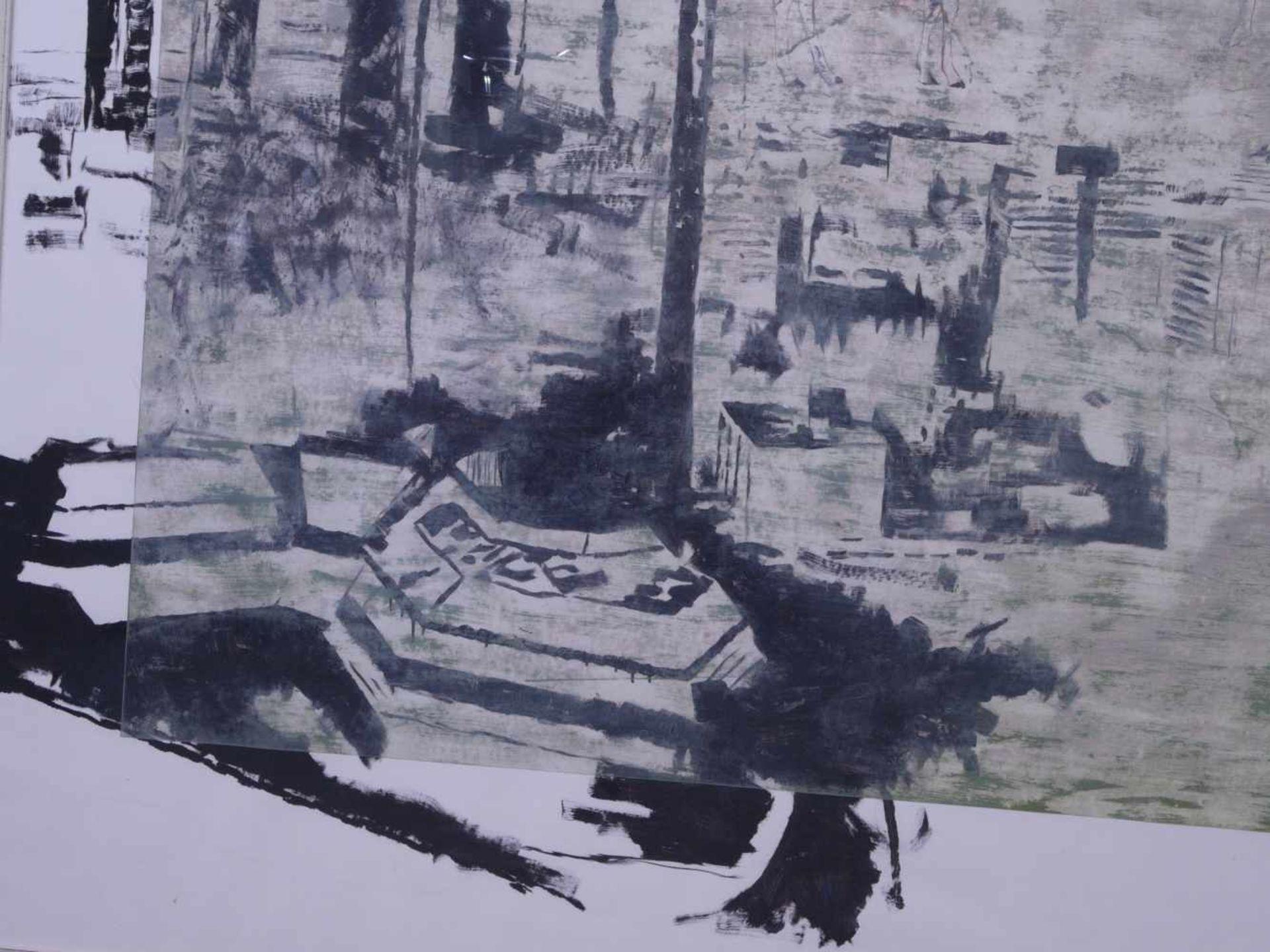 """Dauphin, Peter genannt Muth (Nürnberg 1957) - Großformatiges Gemälde """"Alpstadt""""Sehr großes - Bild 2 aus 6"""