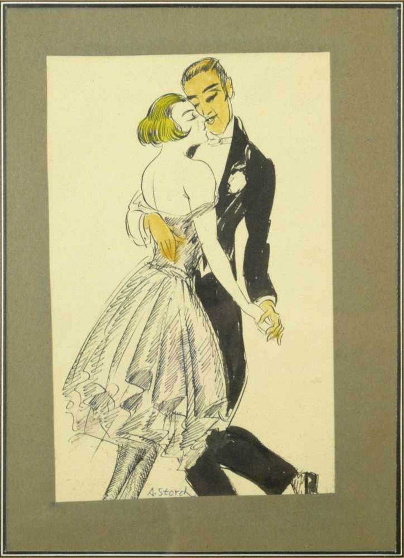 Storch, Josef Anton (1892-1979) - Tanzendes Paar ZeichnungSchwungvolle Zeichnung eines aneinander - Bild 2 aus 4