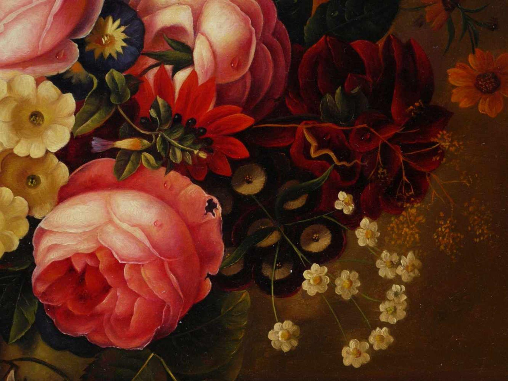 Holstayn, Josef (1930-?) - BlumenstückFeinste Malerei in typischer Manier des Künstler. Meisterhafte - Bild 5 aus 10