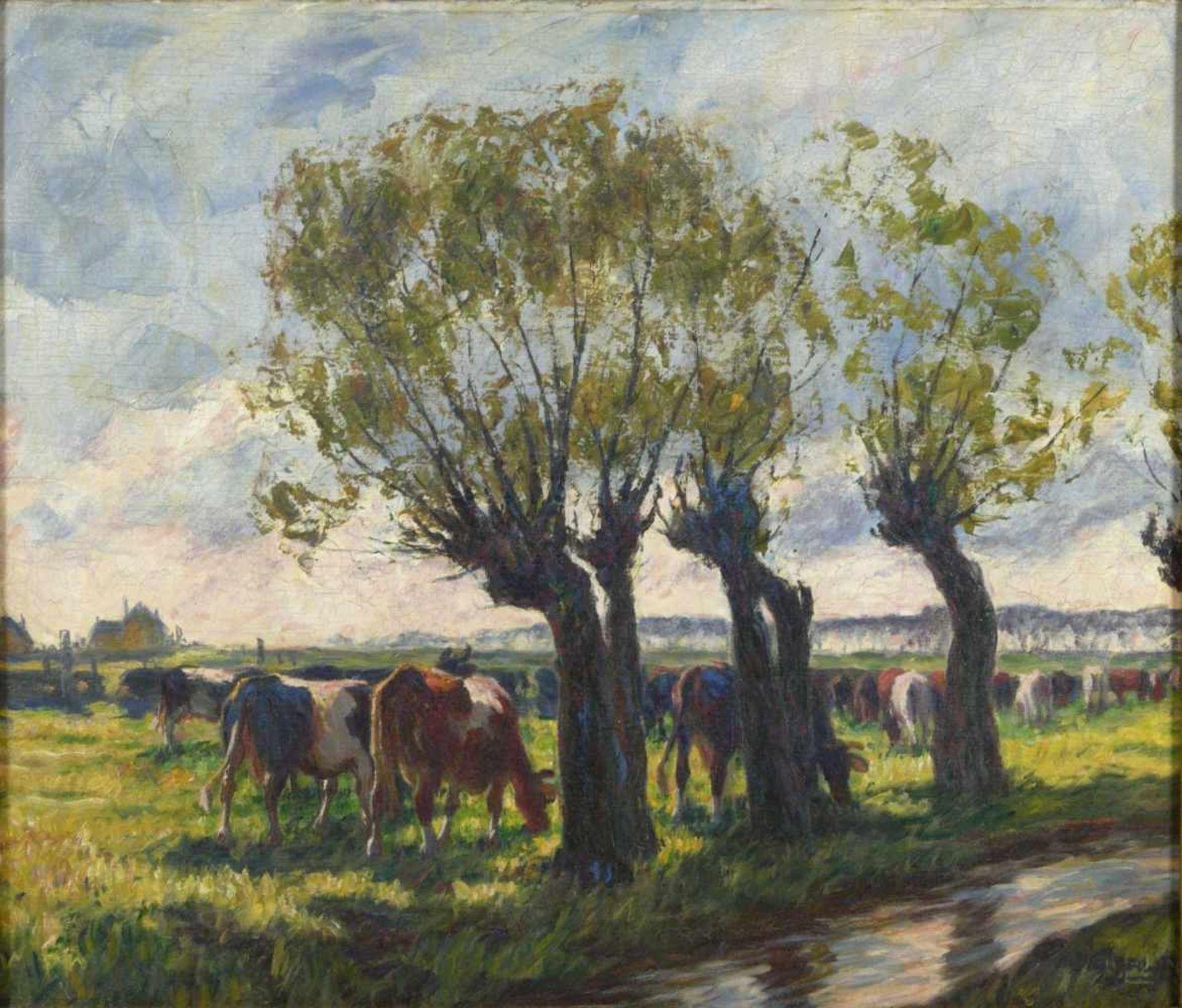 Baur, Albert (1867-1959) - Sonniger Tag an der Anger (Niederrhein)An einem mit vier großen Weiden - Bild 2 aus 6