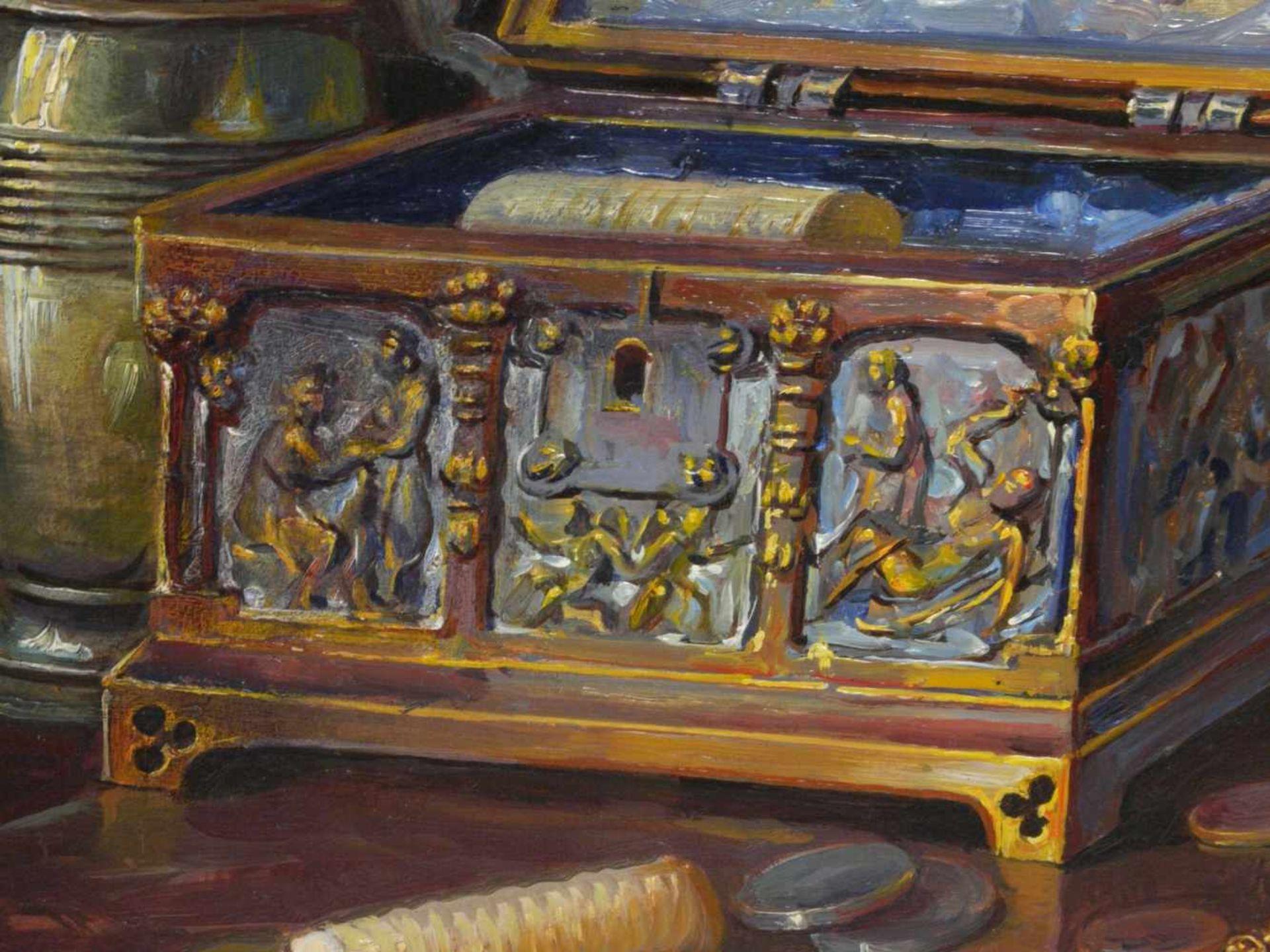 Kugler, Heinrich (1888- ca. 1946) - Symbolträchtiges Stillleben NürnbergGroßformatiges Gemälde in Öl - Bild 7 aus 8