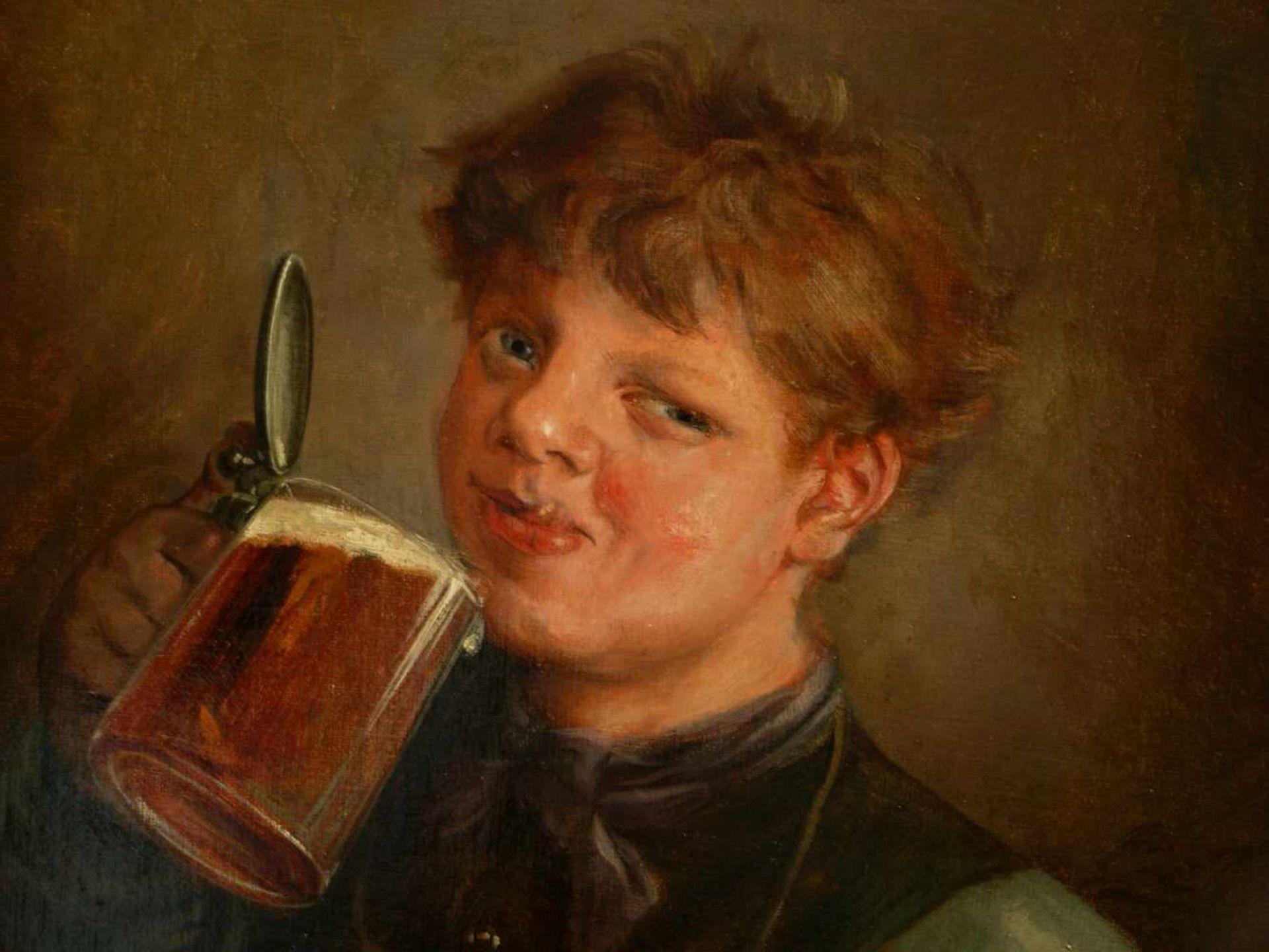 Lassen, Hans August (1857-1931) - Biertrinkender Jüngling Düsseldorf 1890Großformatiges Hüftstück, - Bild 4 aus 6