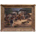 Klingemann, Hugo (1869-1942) - Tanzbär in RumänienDörfliche Szenerie, die Gemeinschaft hat sich