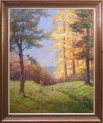 Böhme, Hans (1905-1982) - Herbstlicher LaubwaldIn golden-herbstlicher Farbpalette strahlt diese