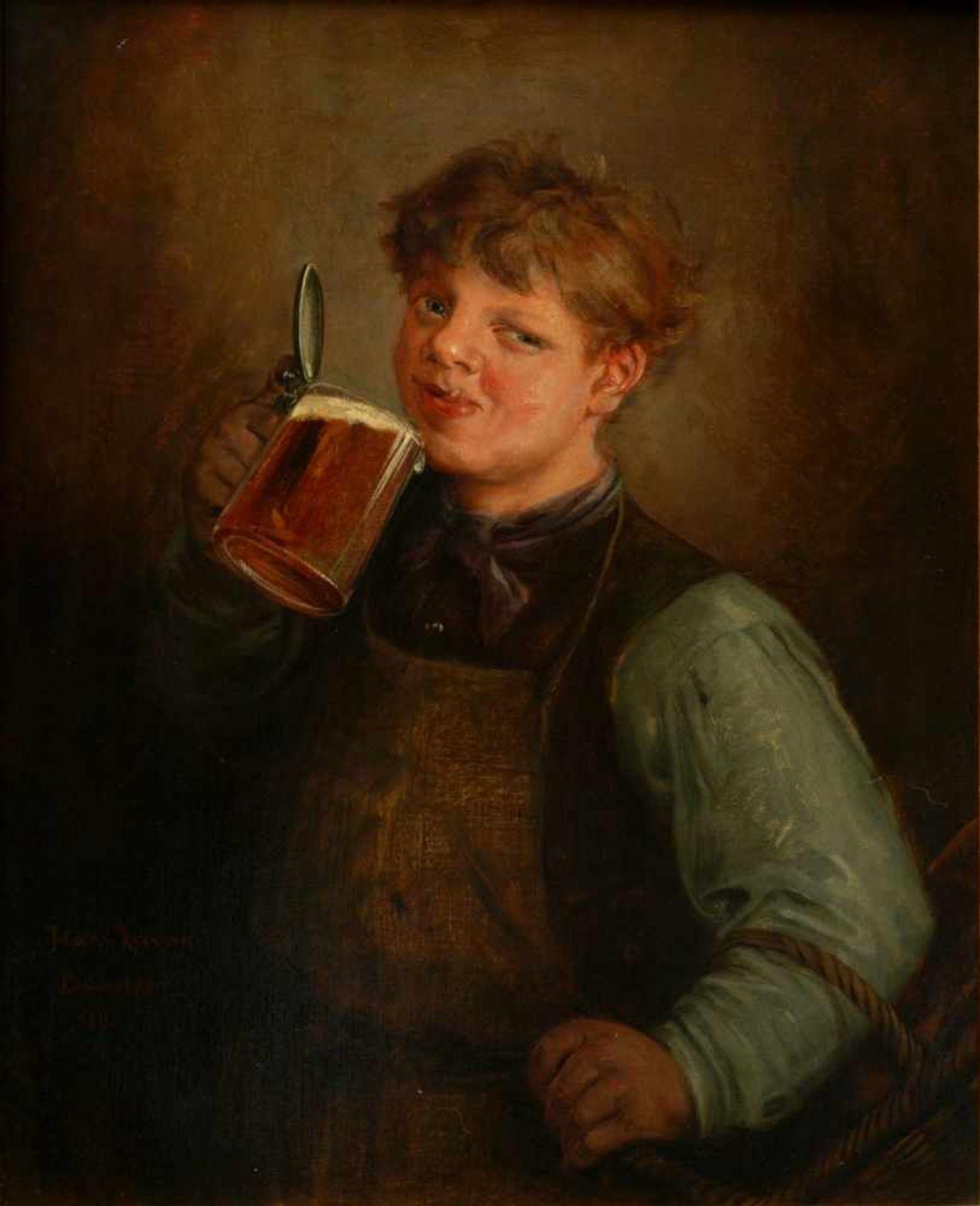 Lassen, Hans August (1857-1931) - Biertrinkender Jüngling Düsseldorf 1890Großformatiges Hüftstück, - Bild 2 aus 6
