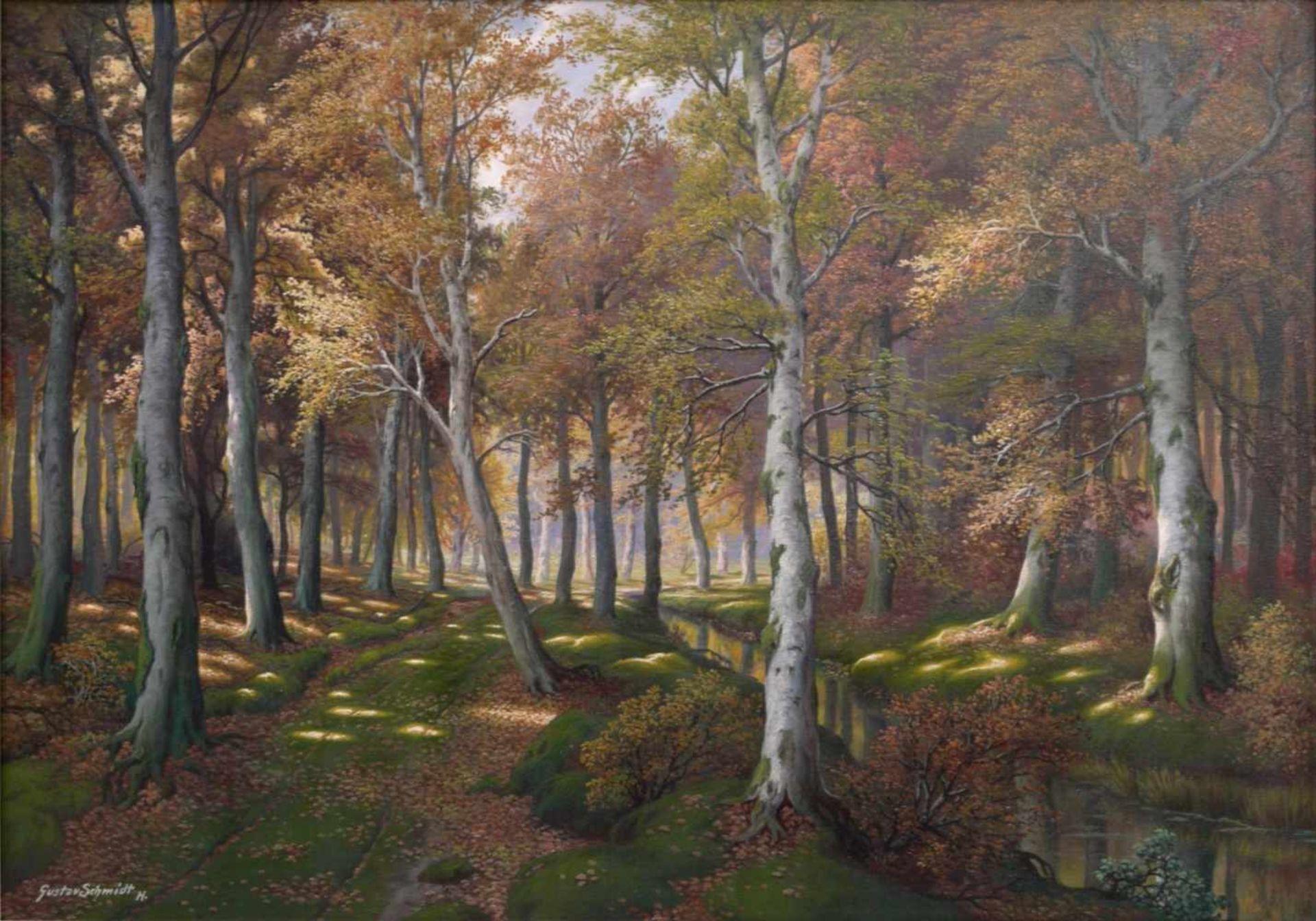 Schmidt, Gustav (1888-1972) - Lichter LaubwaldEin von hellem Licht durchfluteter Laubwald in - Bild 2 aus 7