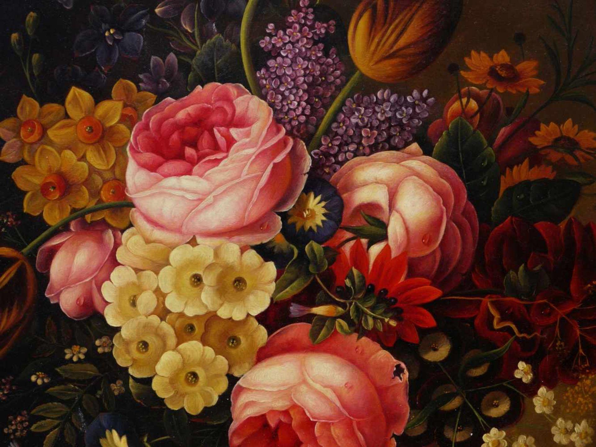 Holstayn, Josef (1930-?) - BlumenstückFeinste Malerei in typischer Manier des Künstler. Meisterhafte - Bild 2 aus 10