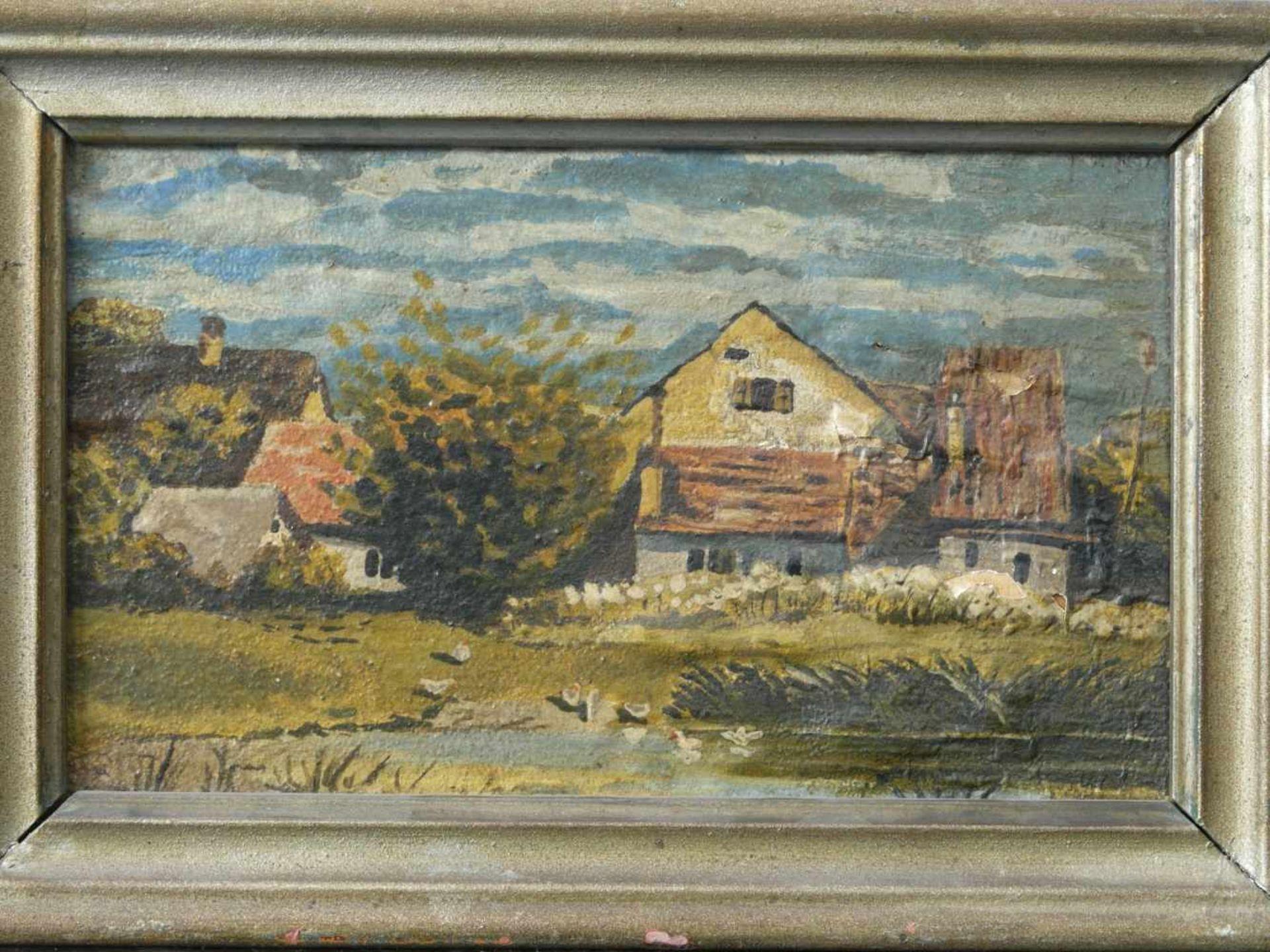 Kugler, Heinrich (1888 - ca. 1946) - Dorflandschaft Leinfarben 1898Bauerngehöft und weitere Häuser - Bild 2 aus 4