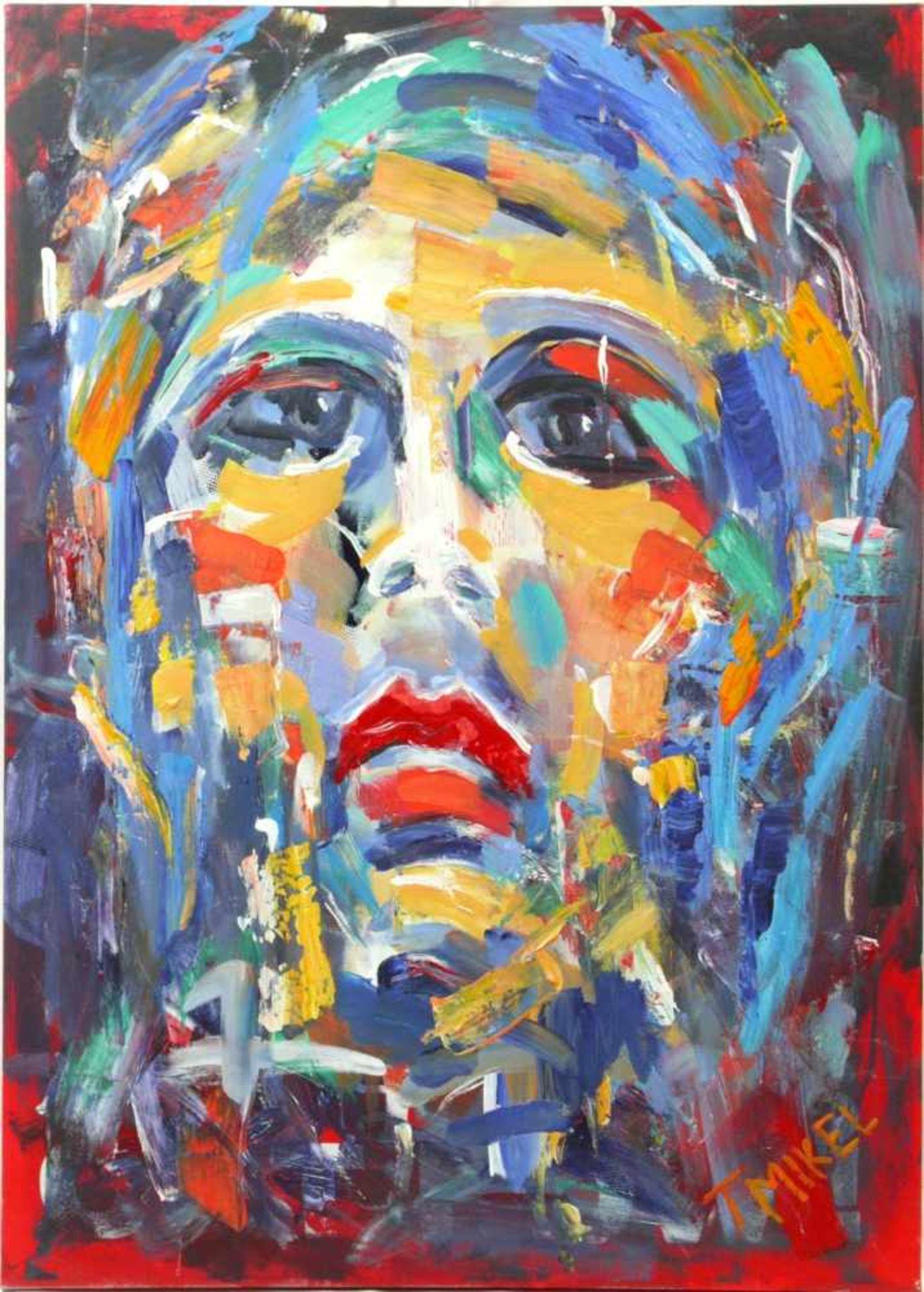 Mikel, Thomas (1948) - Expressives Portrait einer FrauAusdrucksstarkes Gemälde, das Gesicht der Frau