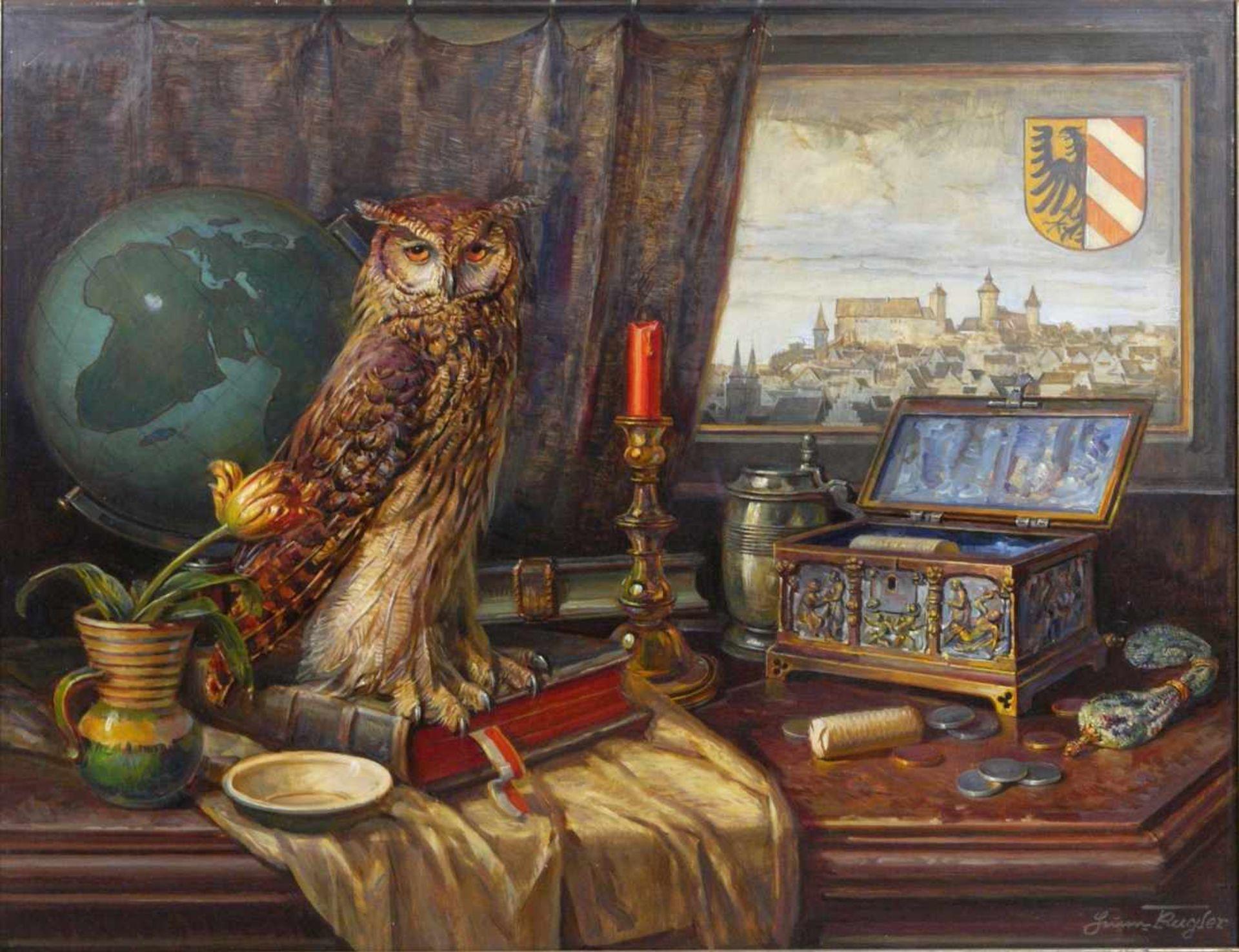 Kugler, Heinrich (1888- ca. 1946) - Symbolträchtiges Stillleben NürnbergGroßformatiges Gemälde in Öl - Bild 2 aus 8