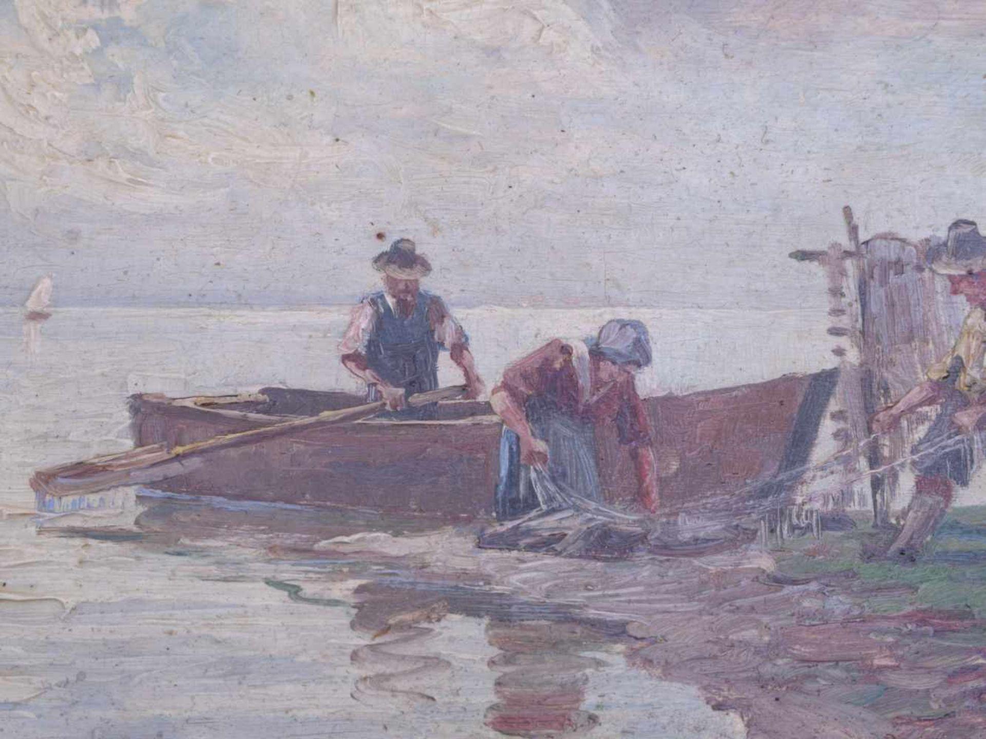 Kettemann, Erwin (1897-1971) - Fischer am Chiemsee MünchenBlick auf drei Fischer am Ufer des Sees, - Bild 4 aus 5