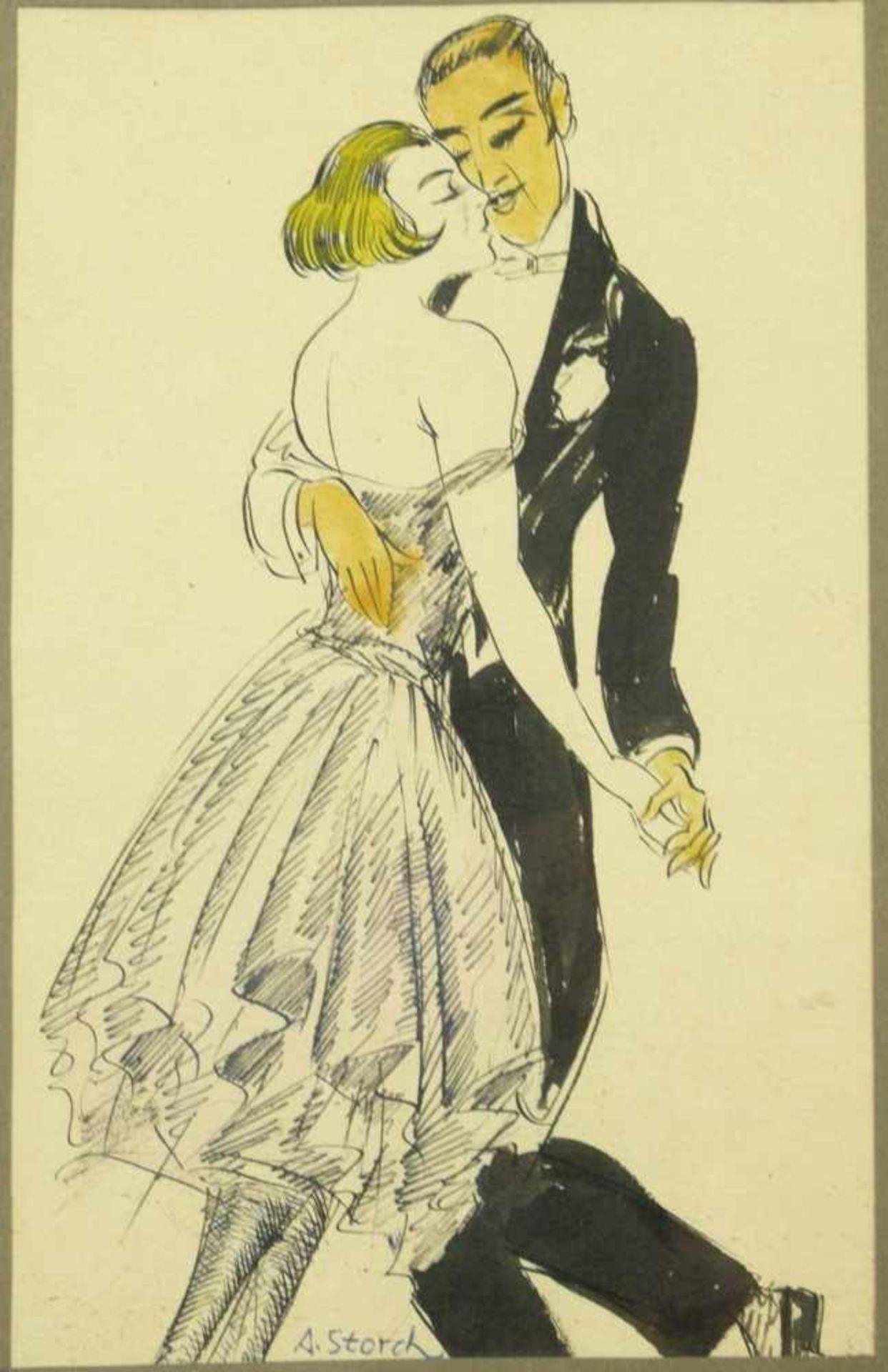 Storch, Josef Anton (1892-1979) - Tanzendes Paar ZeichnungSchwungvolle Zeichnung eines aneinander