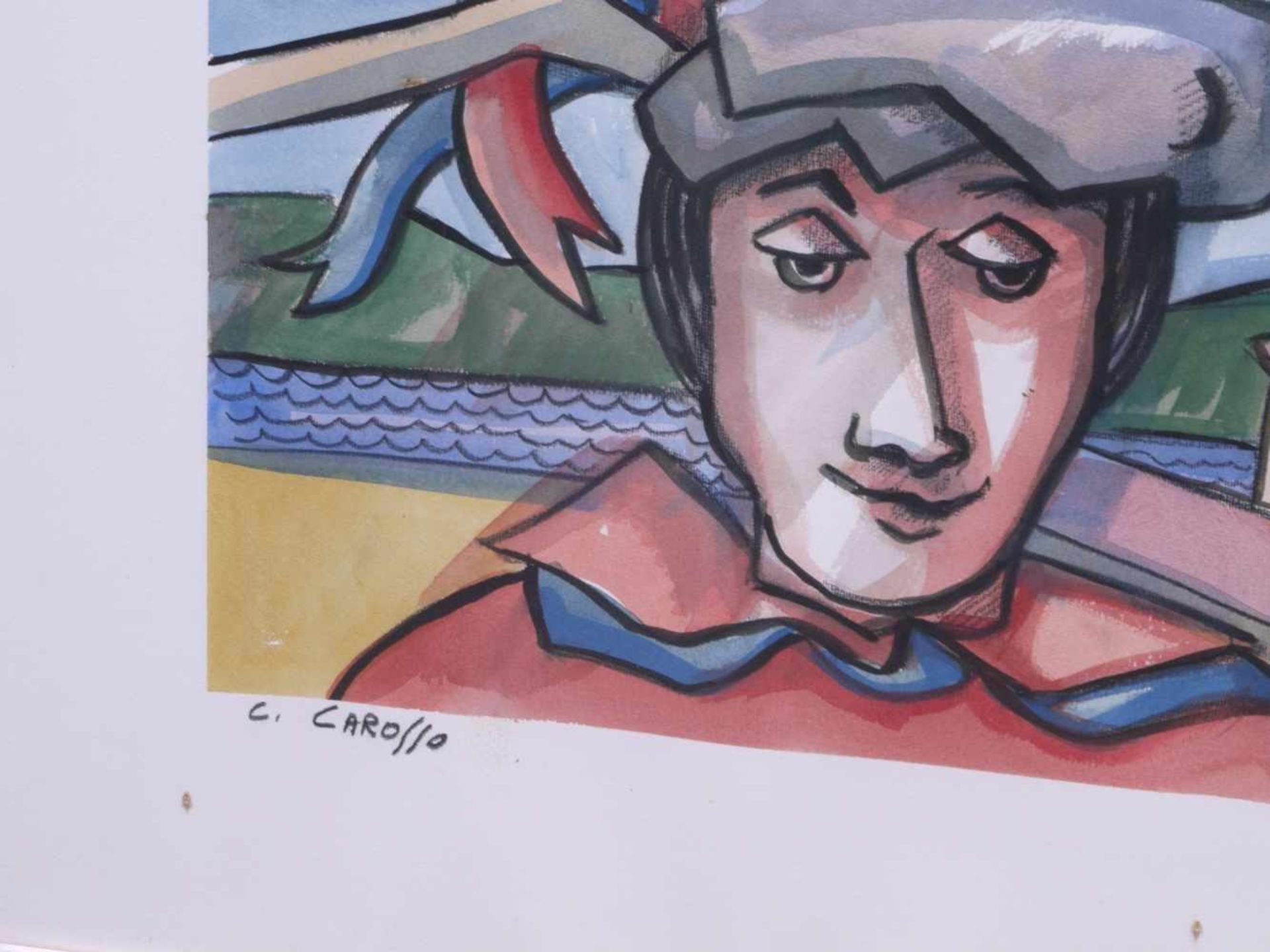 Carosso, Carlo (1953-2007) - IkonographieGroßformatiges Aquarell, horizontal in drei Bildfelder - Bild 4 aus 4