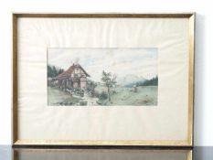 Kugler, Heinrich (1888 - ca. 1946) - Mühle am Bach Aquarell 1901Idyllisch gelegene Fachwerkmühle