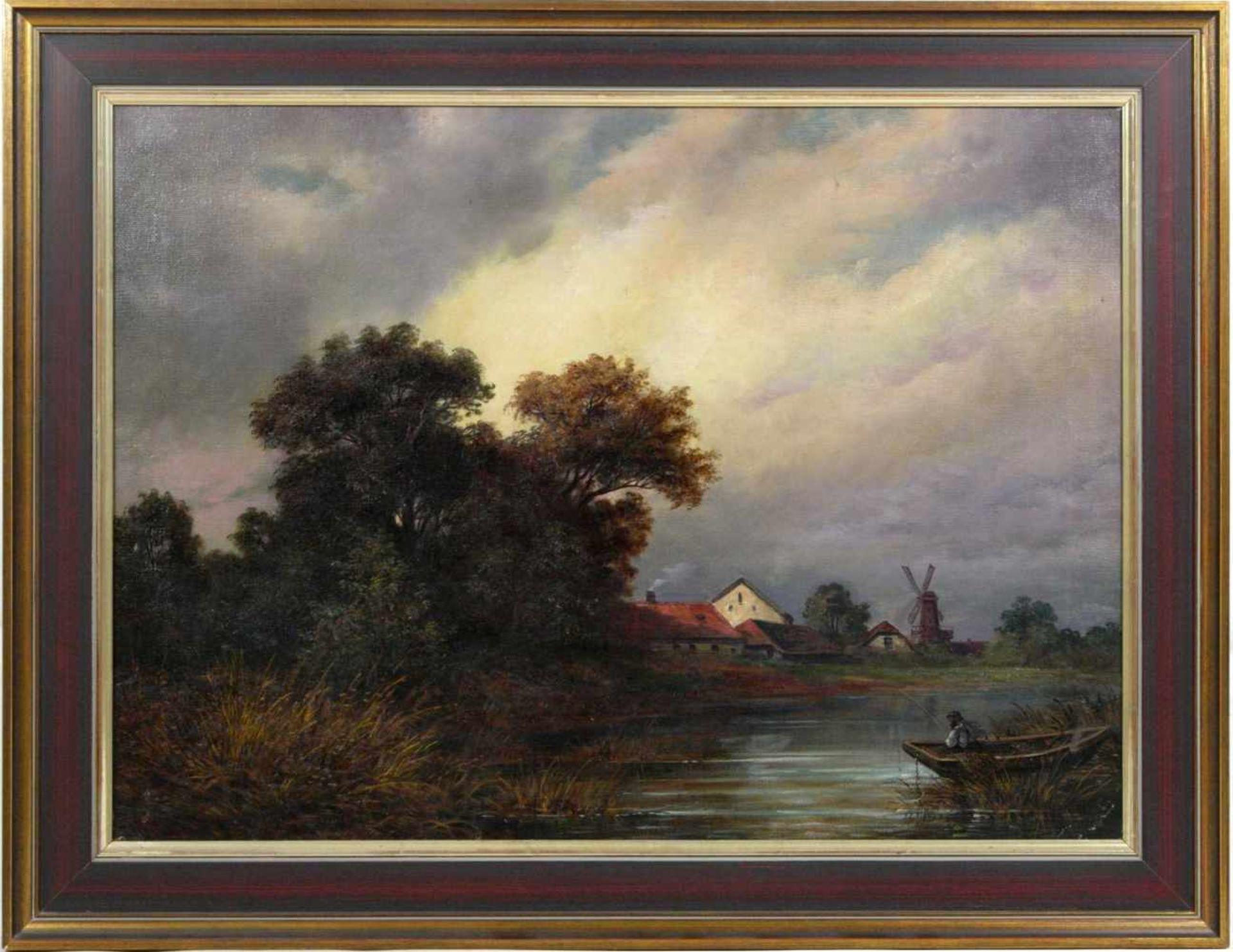 Perlberg, Friedrich (1848-1921) - Fischer in FlußlandschaftEin Fluß mit einem einsamen Fischer in