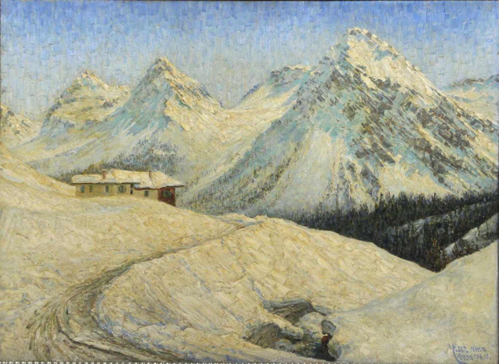 Koch, Michel (1853-1927) - Winterlandschaft Arosa 1915Winterliche Gebirgslandschaft mit idyllisch - Bild 2 aus 6