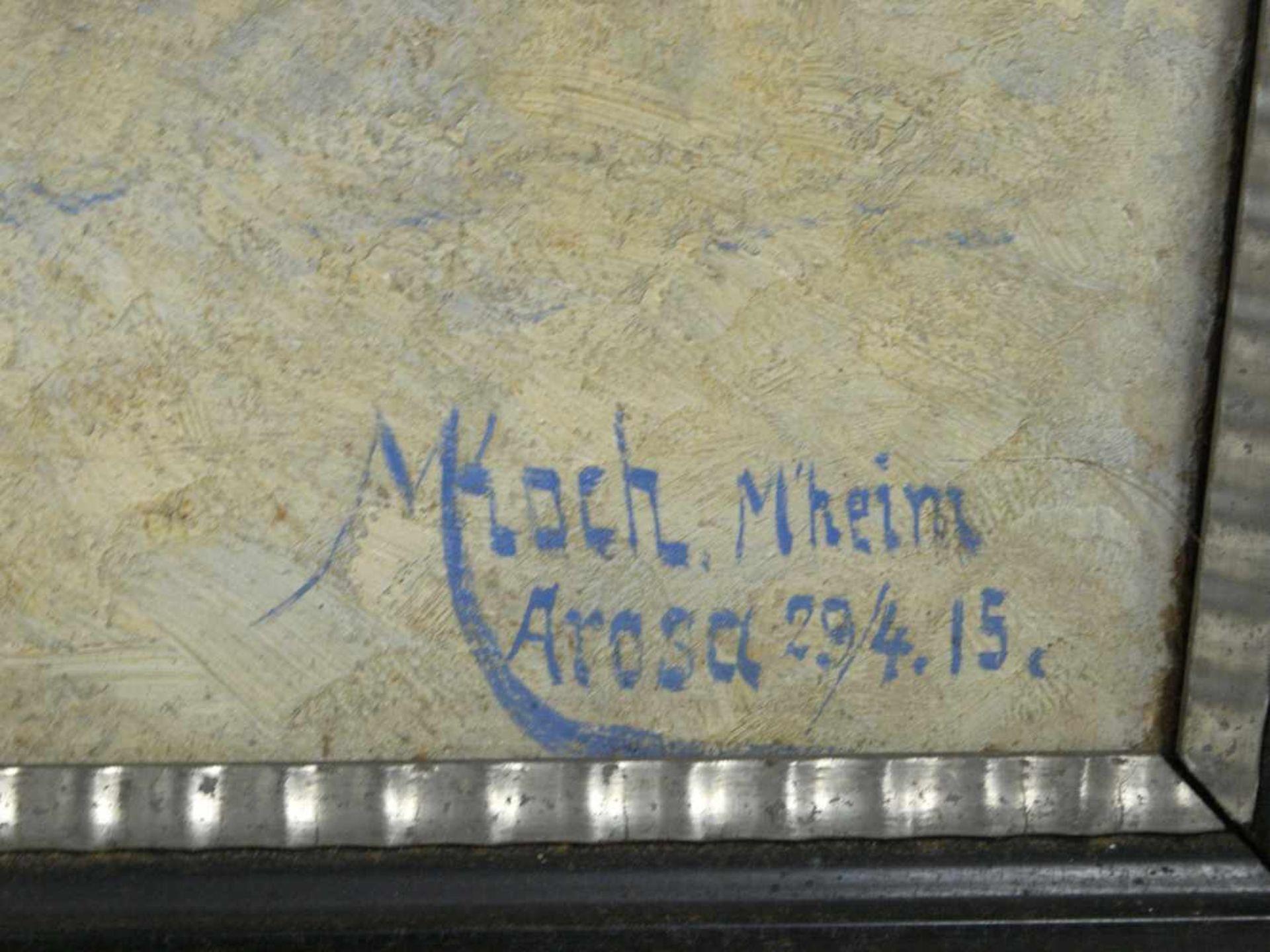 Koch, Michel (1853-1927) - Winterlandschaft Arosa 1915Winterliche Gebirgslandschaft mit idyllisch - Bild 4 aus 6