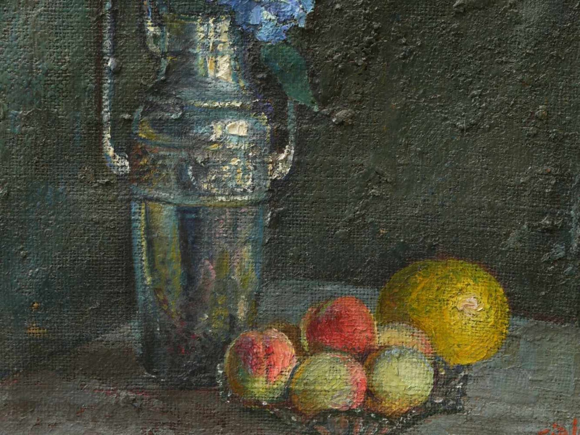 Fiala, Vaclav (1896-1980) - Stillleben mit Vase und FrüchtenAnsicht einer hohen, silbernen - Bild 4 aus 8