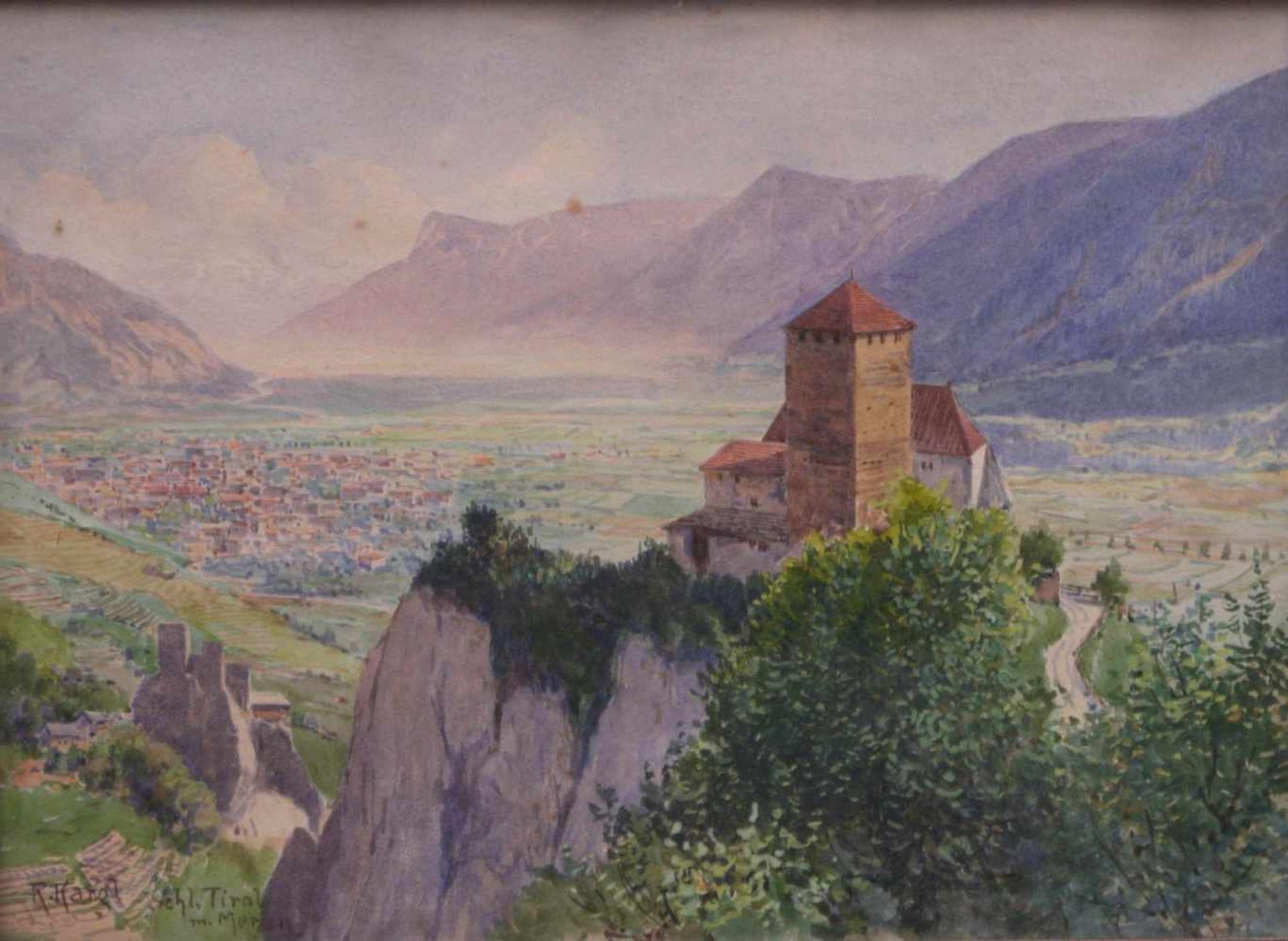 Kargl, Rudolf (1878-1942) - Schloss Tirol mit MeranKleines Querformat, hinter der charakteristischen - Bild 2 aus 4