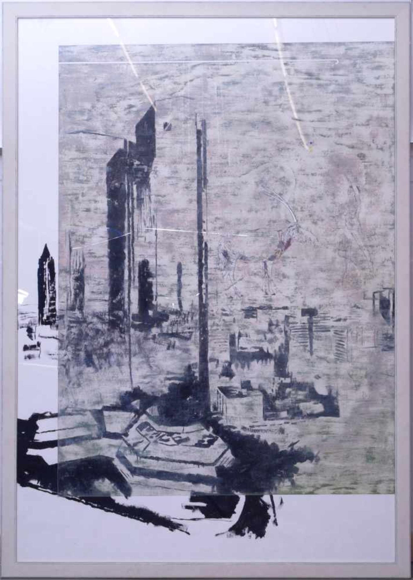 "Dauphin, Peter genannt Muth (Nürnberg 1957) - Großformatiges Gemälde ""Alpstadt""Sehr großes"