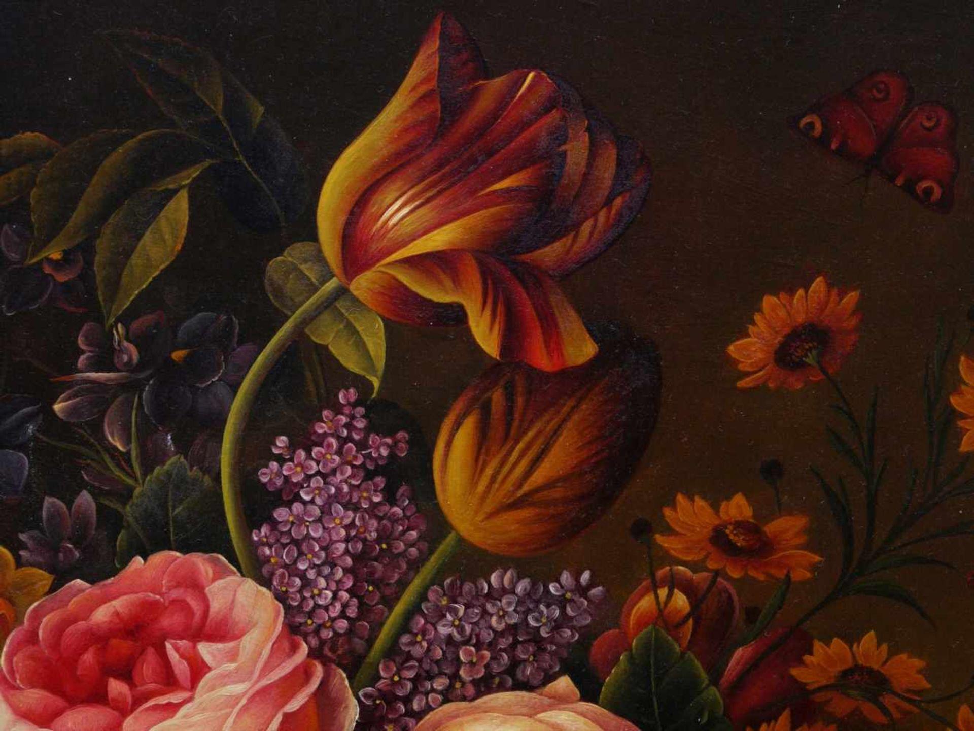 Holstayn, Josef (1930-?) - BlumenstückFeinste Malerei in typischer Manier des Künstler. Meisterhafte - Bild 3 aus 10