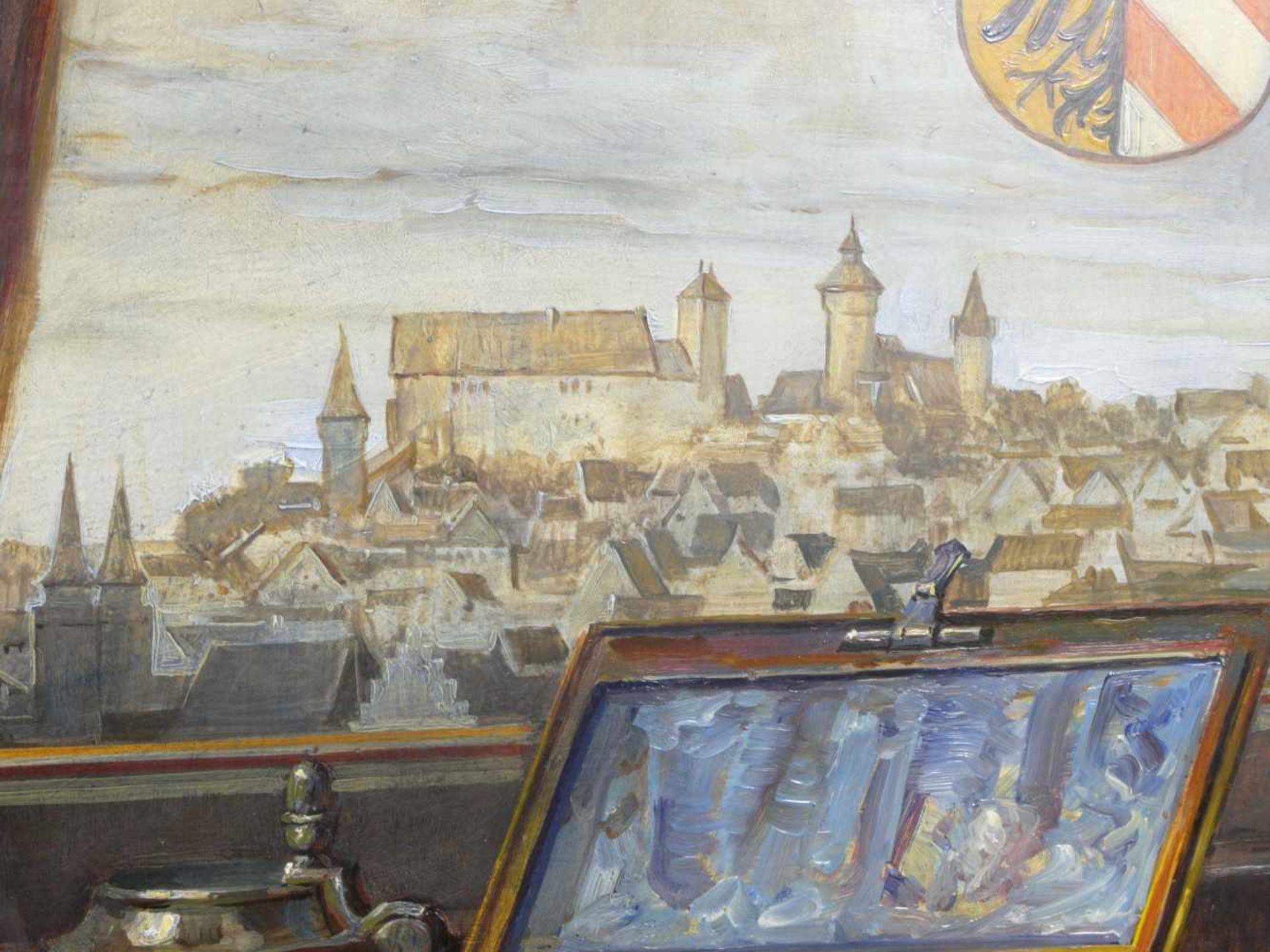 Kugler, Heinrich (1888- ca. 1946) - Symbolträchtiges Stillleben NürnbergGroßformatiges Gemälde in Öl - Bild 6 aus 8