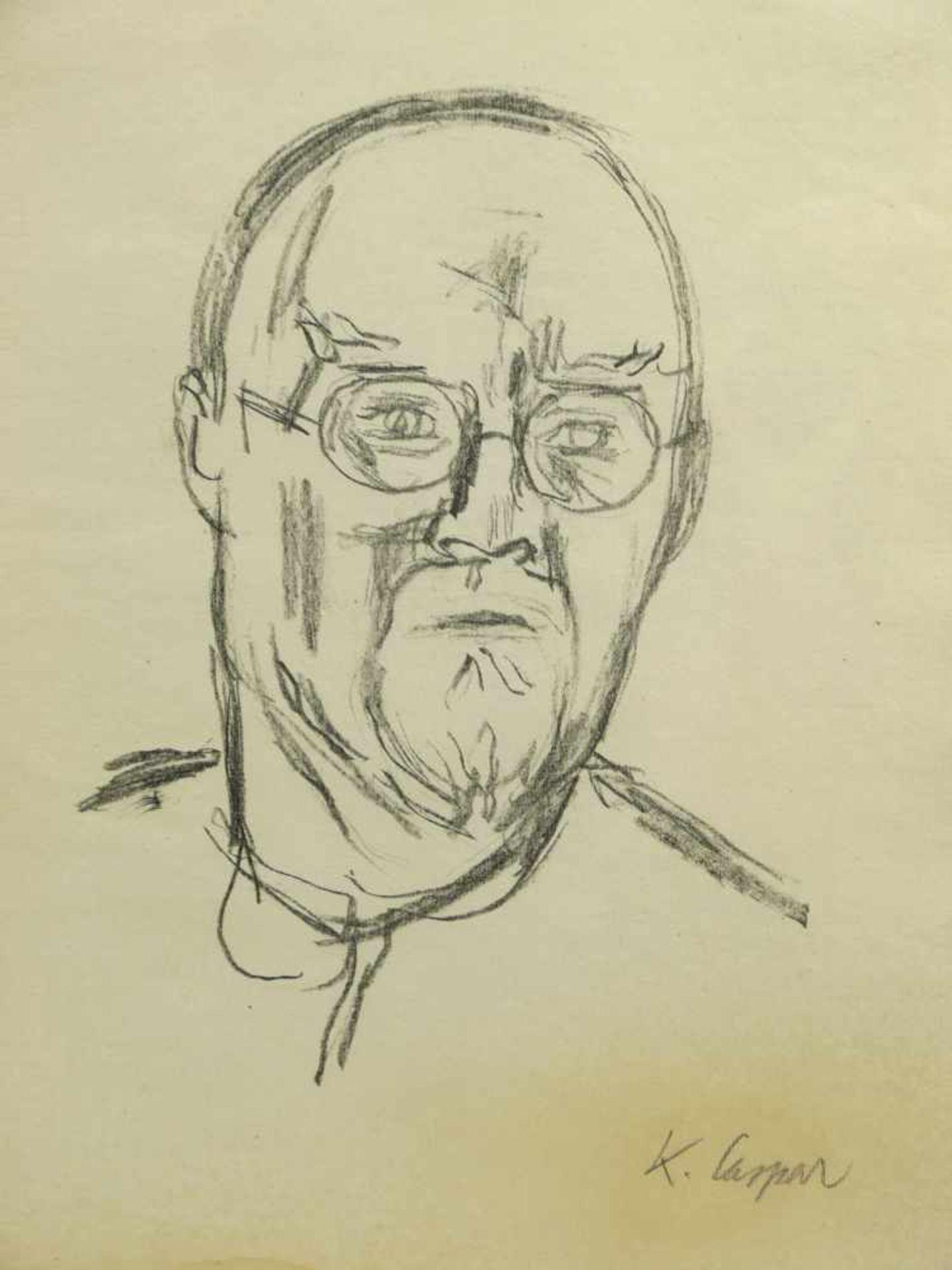 Caspar, Karl (1879-1956) - Portrait Zeichnung des Künstlers Arthur Rappl (1904-1968) 1929Im - Bild 2 aus 5