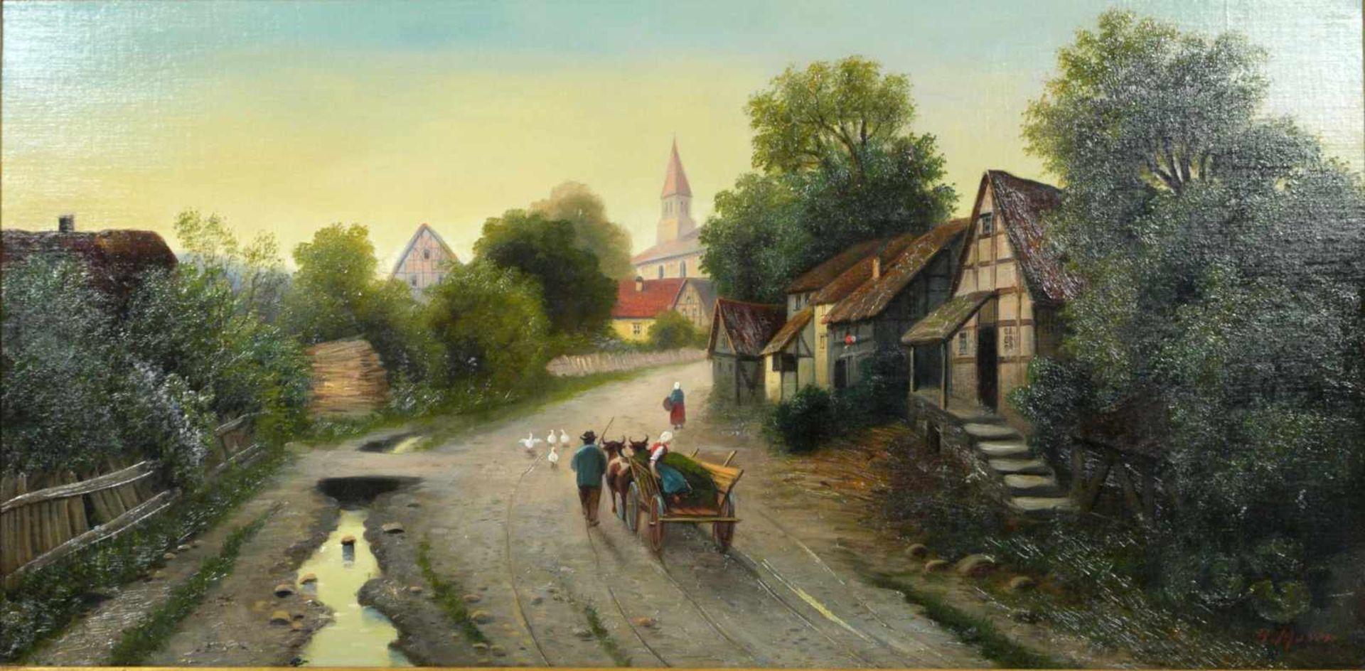 Moser, Herrmann (1835-?) - Dorfstraße in NiederbayernBlick in eine typisch bayerisch dörfliche - Bild 2 aus 6