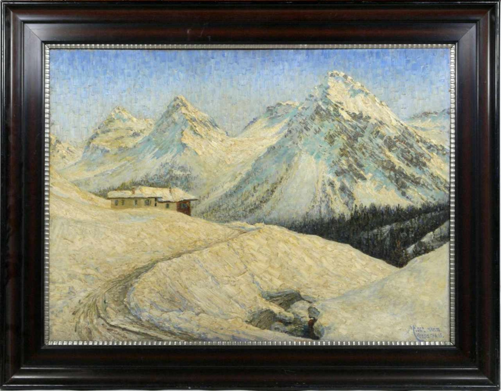 Koch, Michel (1853-1927) - Winterlandschaft Arosa 1915Winterliche Gebirgslandschaft mit idyllisch
