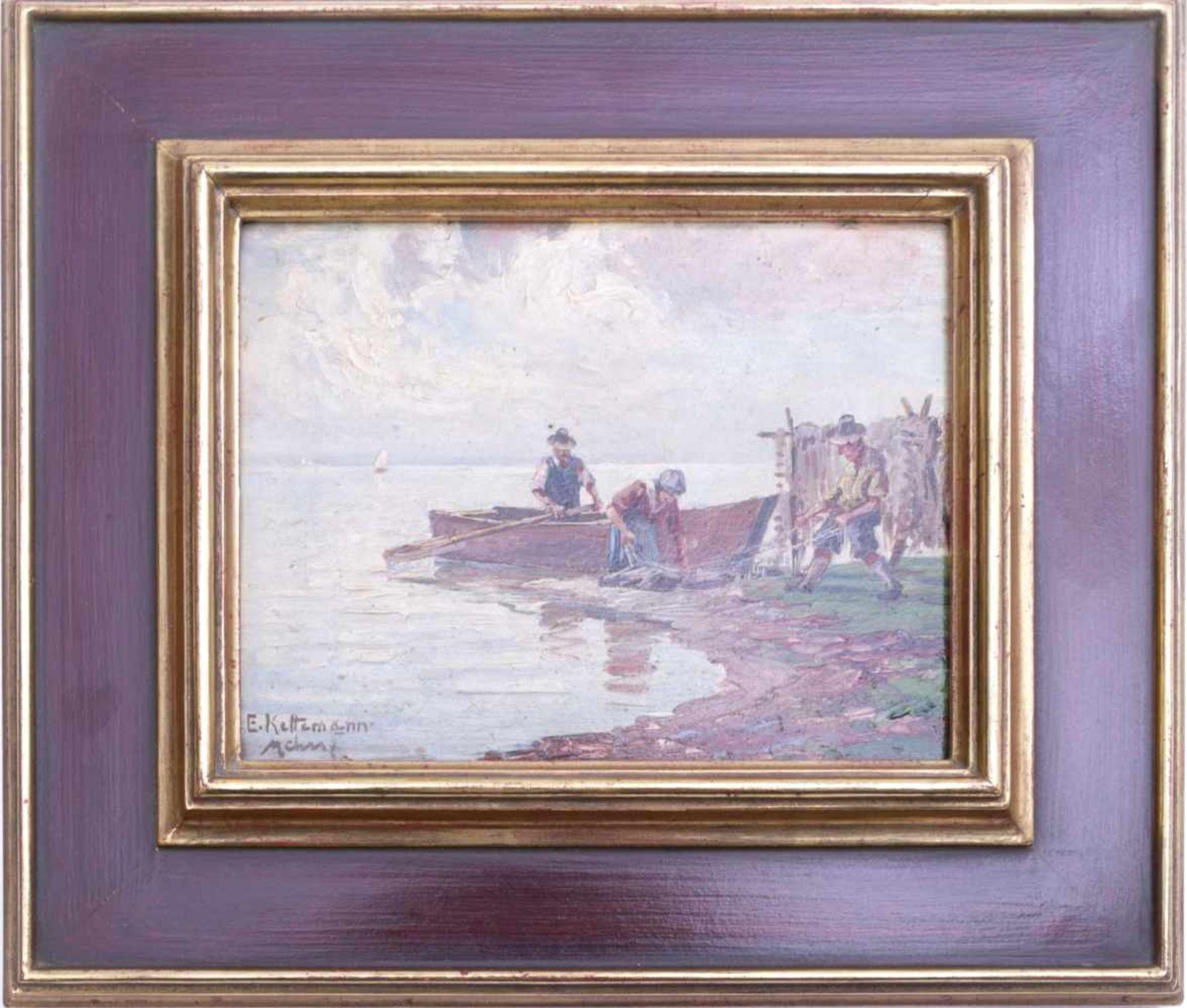 Kettemann, Erwin (1897-1971) - Fischer am Chiemsee MünchenBlick auf drei Fischer am Ufer des Sees,