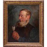 Runze, Wilhelm (1887-1930) - Portrait PfeiffenraucherEin bärtiger älterer Mann in bürgerlicher