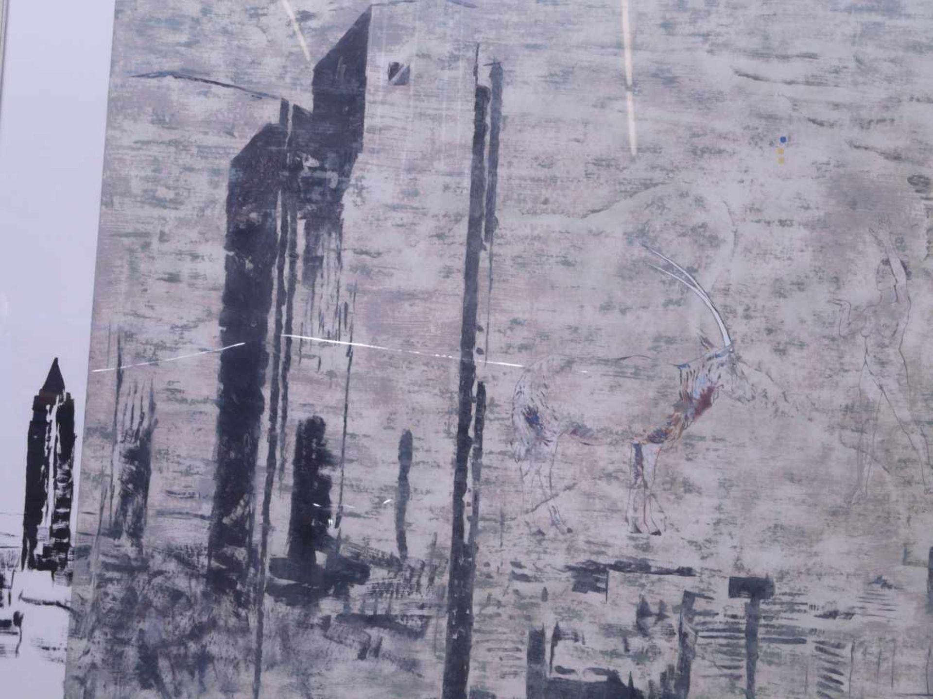 """Dauphin, Peter genannt Muth (Nürnberg 1957) - Großformatiges Gemälde """"Alpstadt""""Sehr großes - Bild 3 aus 6"""
