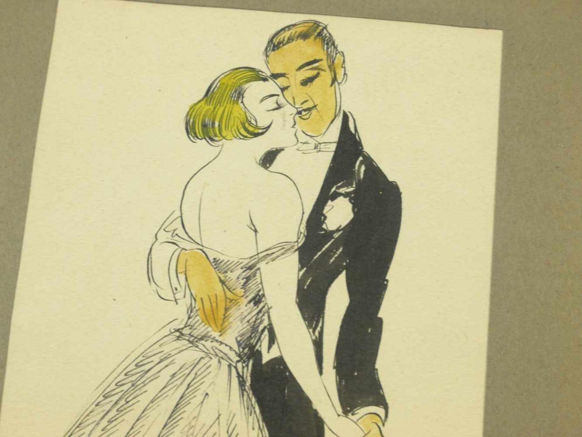 Storch, Josef Anton (1892-1979) - Tanzendes Paar ZeichnungSchwungvolle Zeichnung eines aneinander - Bild 4 aus 4