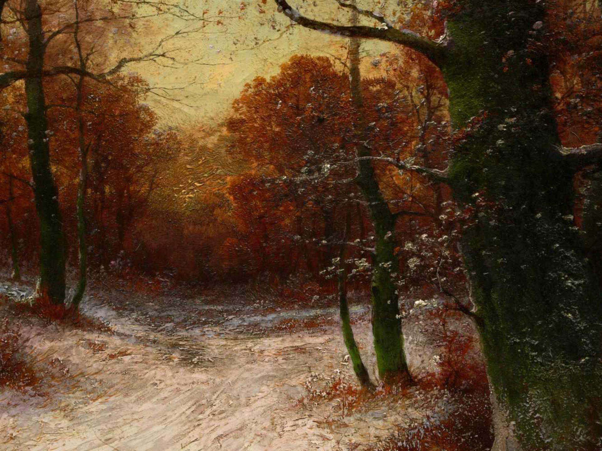 Kaufmann, Adolf (1848-1916)/ M. Bandouch - Winterliche WaldlandschaftRomantisch-idyllische Ansicht - Bild 3 aus 10