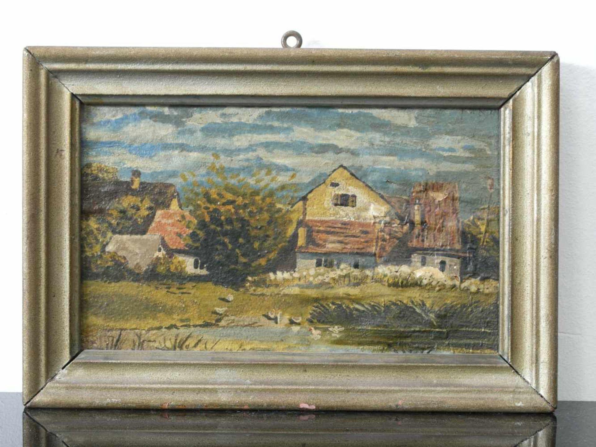 Kugler, Heinrich (1888 - ca. 1946) - Dorflandschaft Leinfarben 1898Bauerngehöft und weitere Häuser