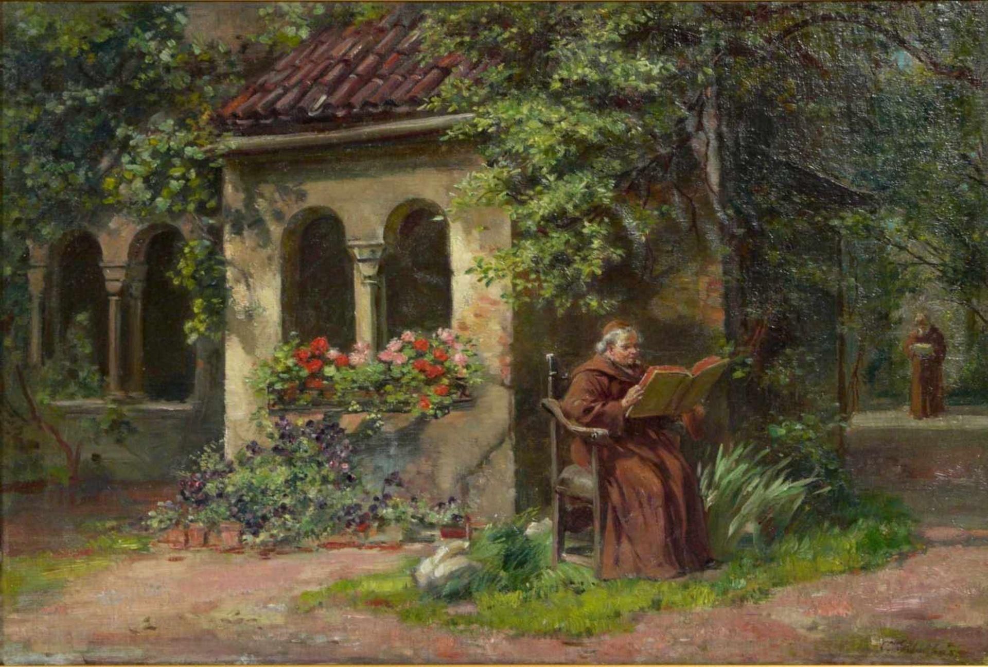 Schultheis, C. (20.Jhd.) - Ruhe im KlostergartenGefällige Darstellung mit der Ansicht eines - Bild 2 aus 6